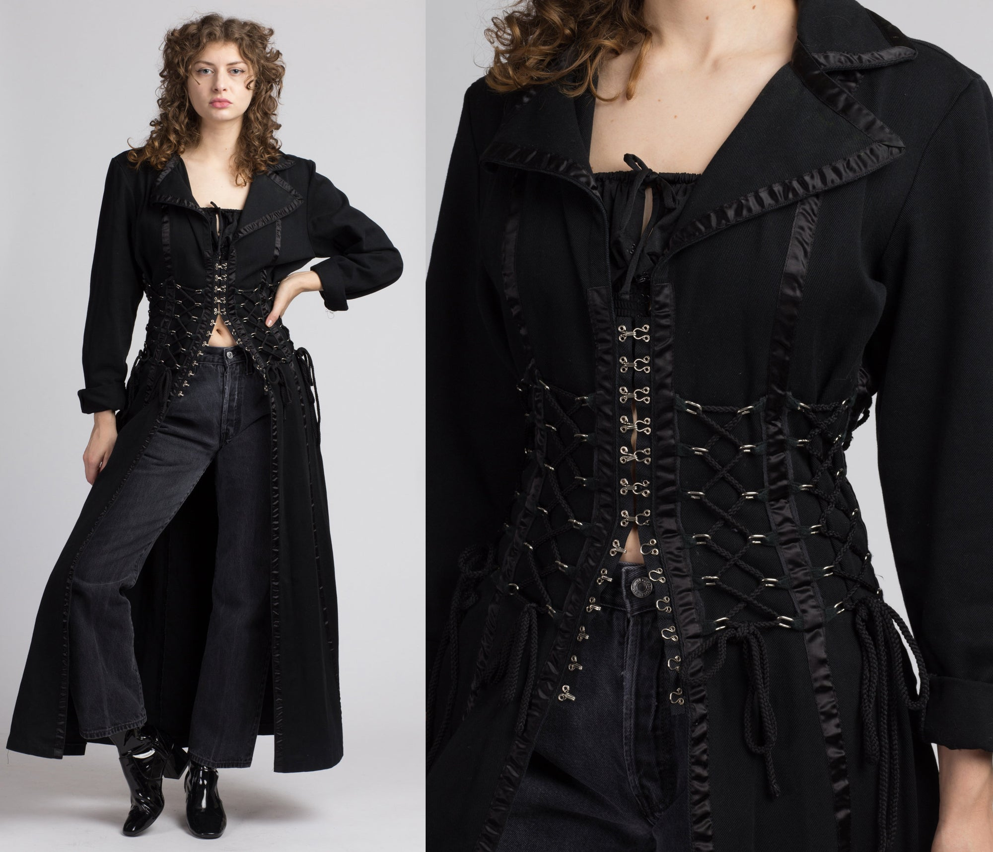 90s Black Denim Punk Gothic Corset Trench Coat - One Size