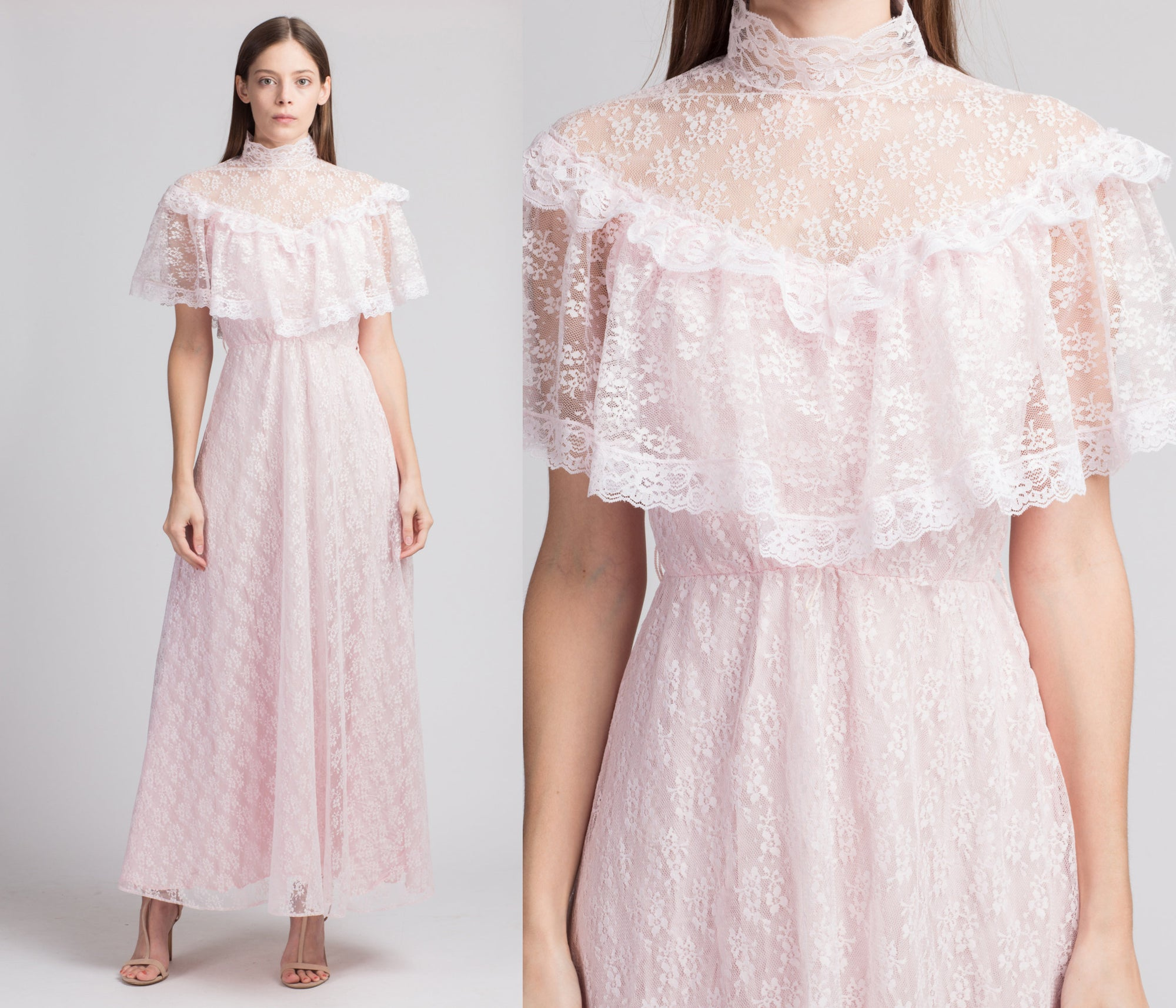 70s Pink Victorian Lace Princess Gown - Medium