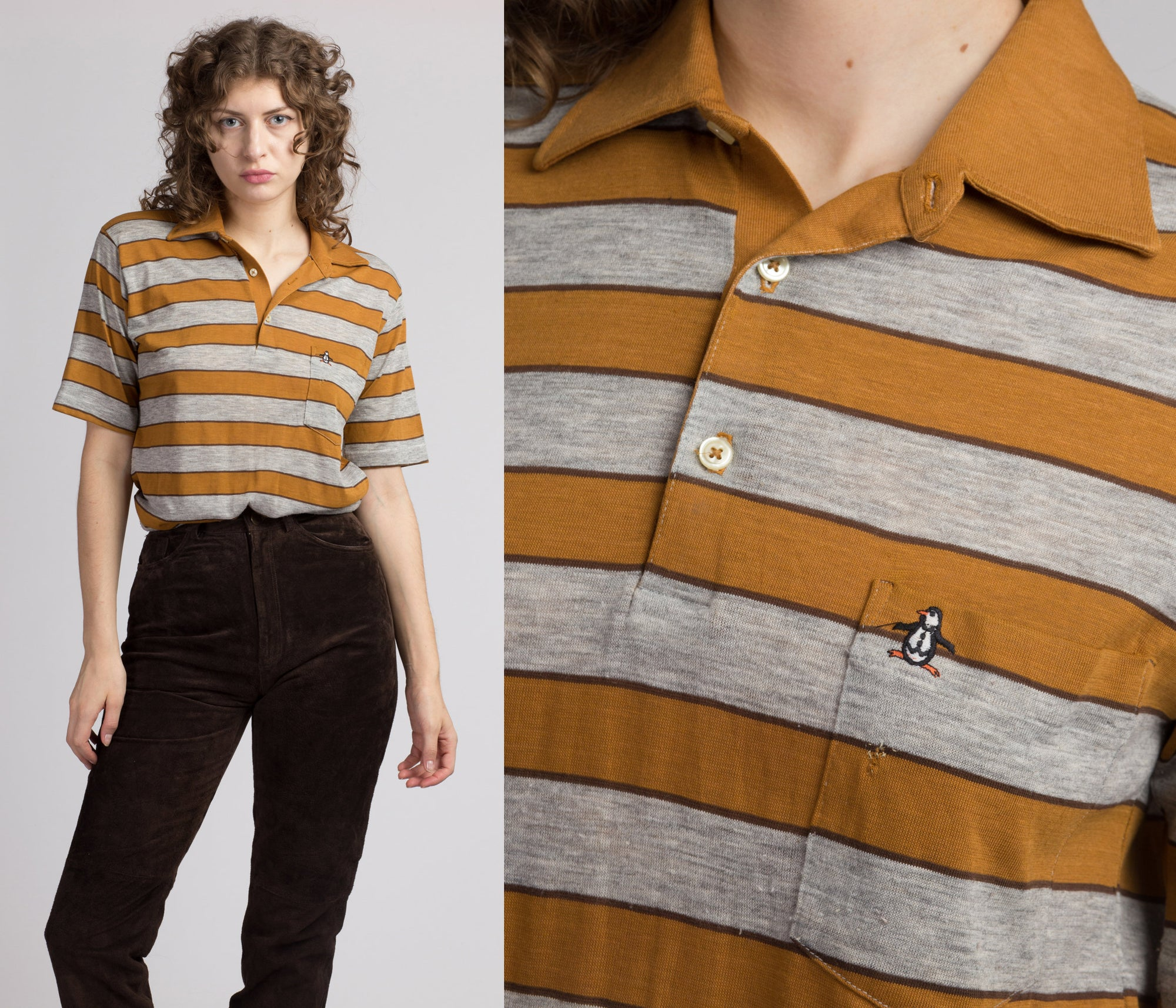 Vintage Striped Munsingwear Polo Shirt - Men's Medium