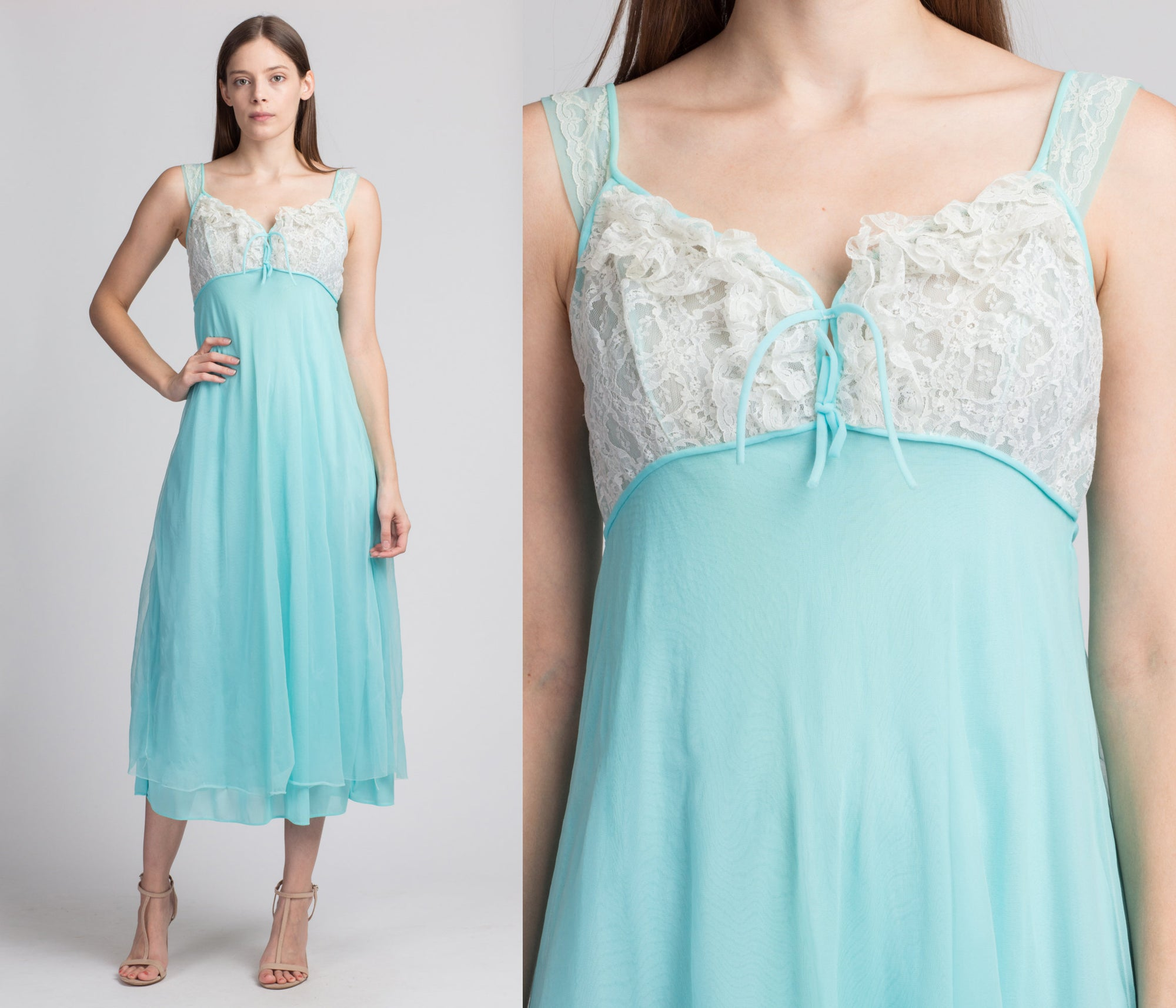 70s Blue Peignoir Nightgown - Small to Medium