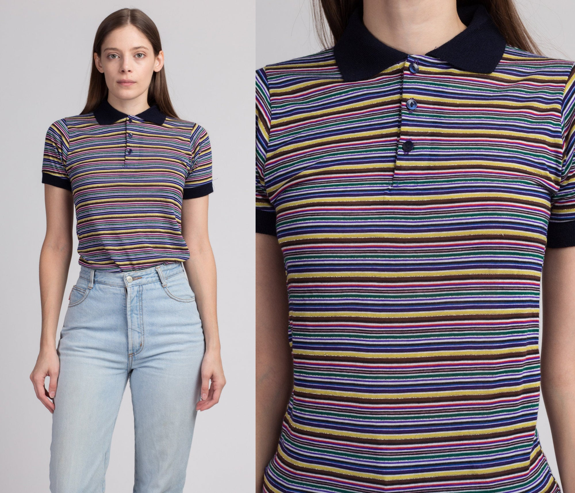 80s Rainbow Metallic Striped Polo Shirt - Extra Small