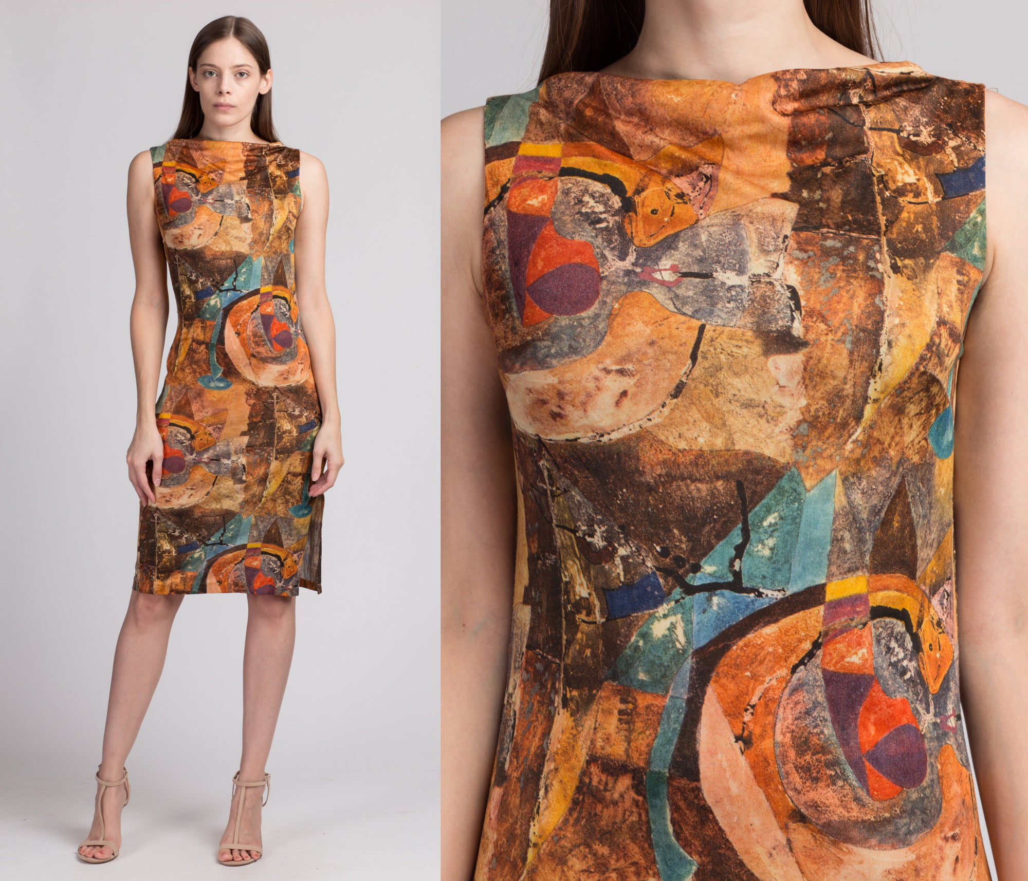 60s Slinky Abstract Print Side Slit Dress - Small