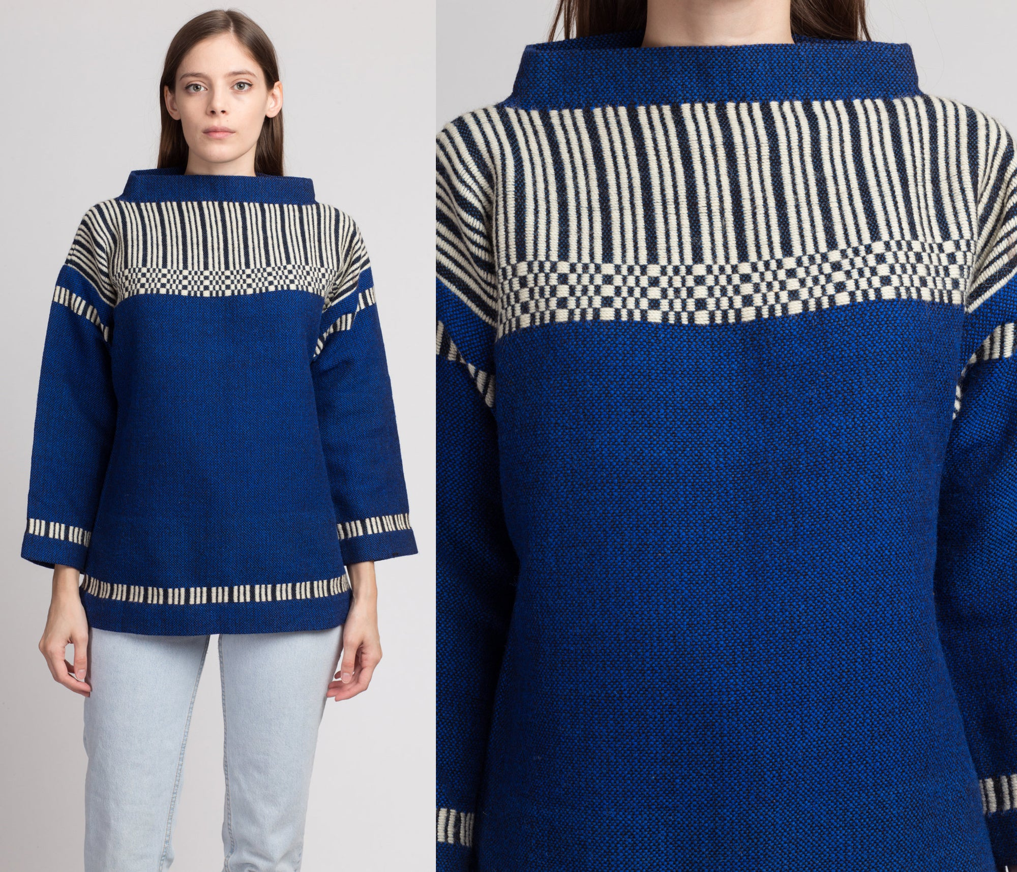 60s Madawaska Weavers Handwoven Wool Sweater - Medium