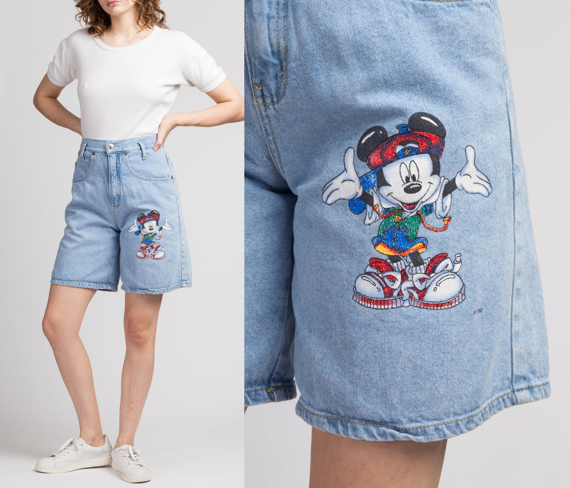90s Mickey Mouse Jerry Leigh Jean Shorts - Medium, 29""