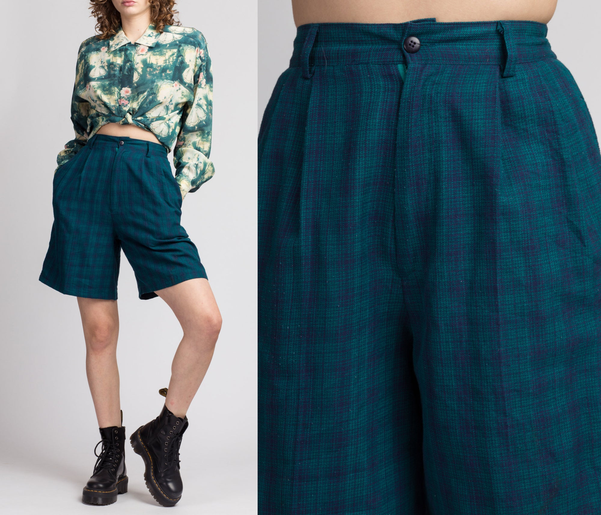 80s Blue & Green Plaid Shorts - Small