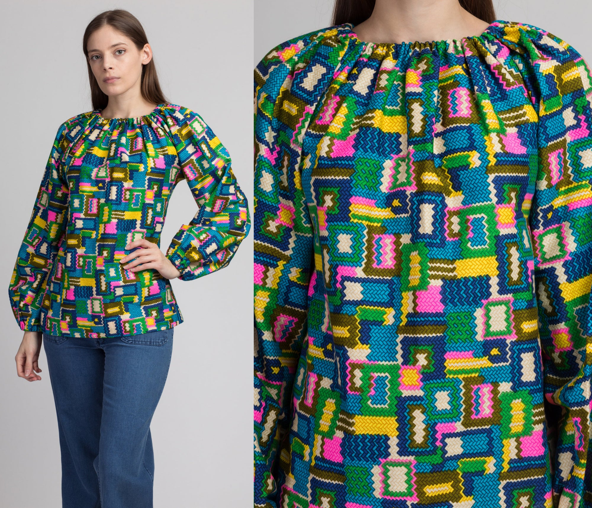 60s Psychedelic Balloon Sleeve Top - Extra Small