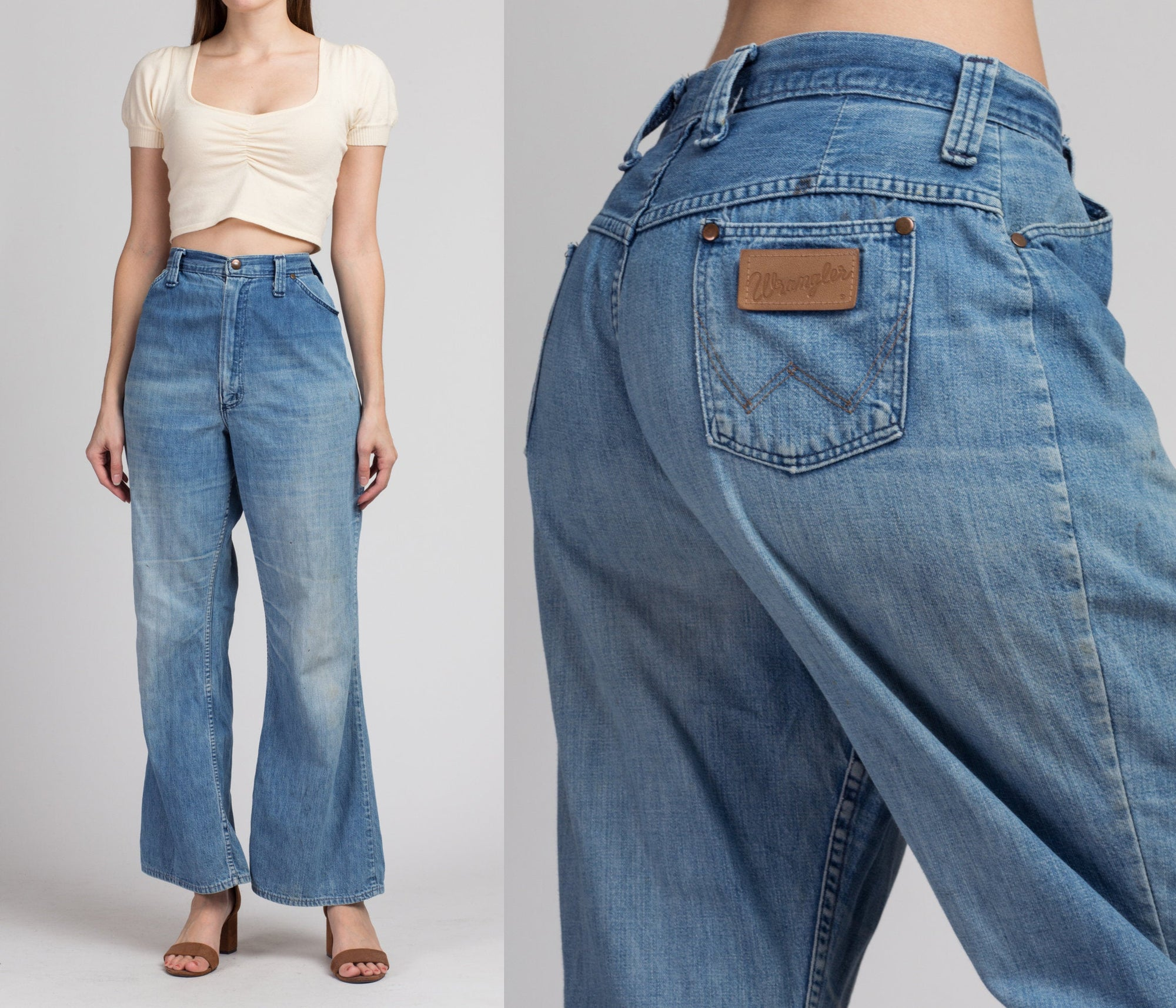 70s Flared High Waist Wrangler Jeans - Medium to Large