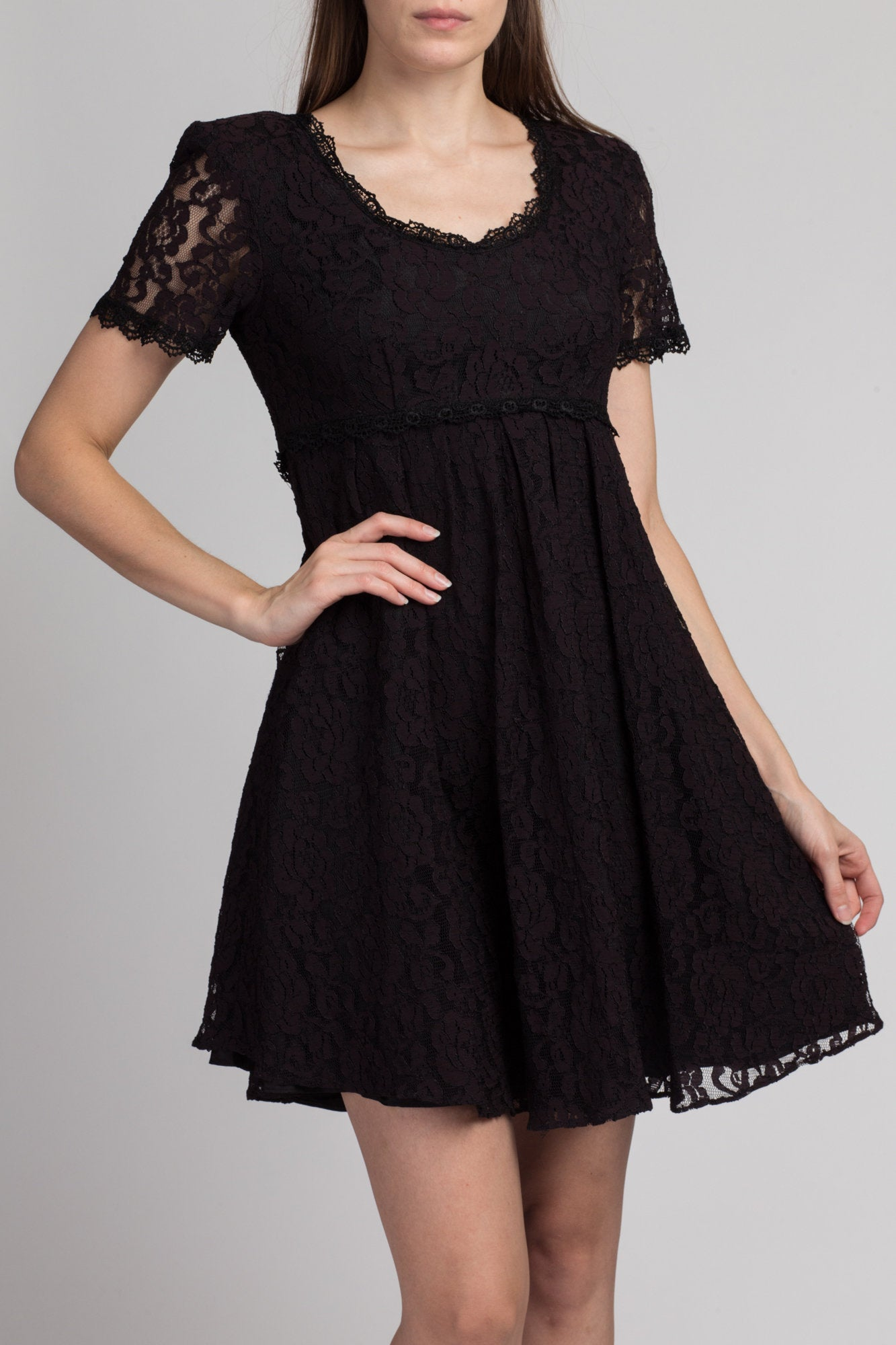 80s Black & Purple Lace Party Dress - Medium