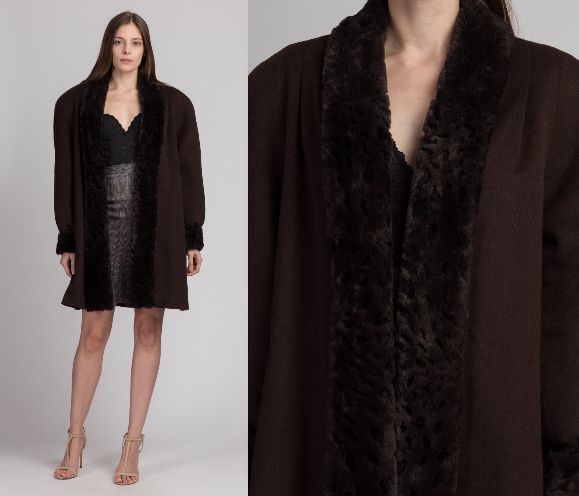 80s Alorna Brown Fur Trim Overcoat - Large