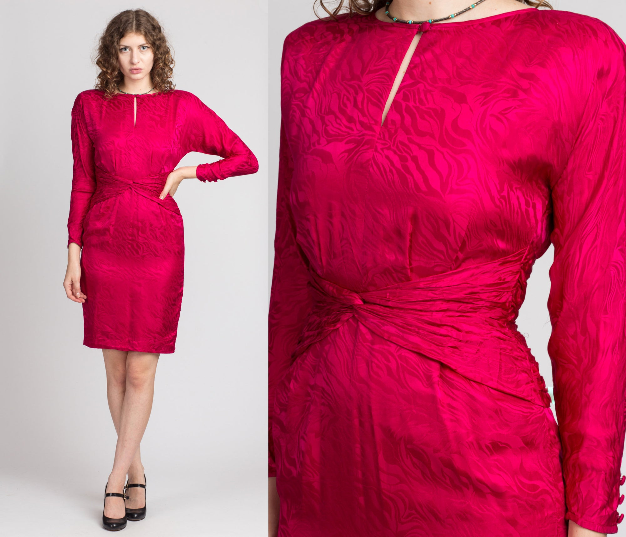 80s Silk Magenta Keyhole Neck Mini Dress - Small