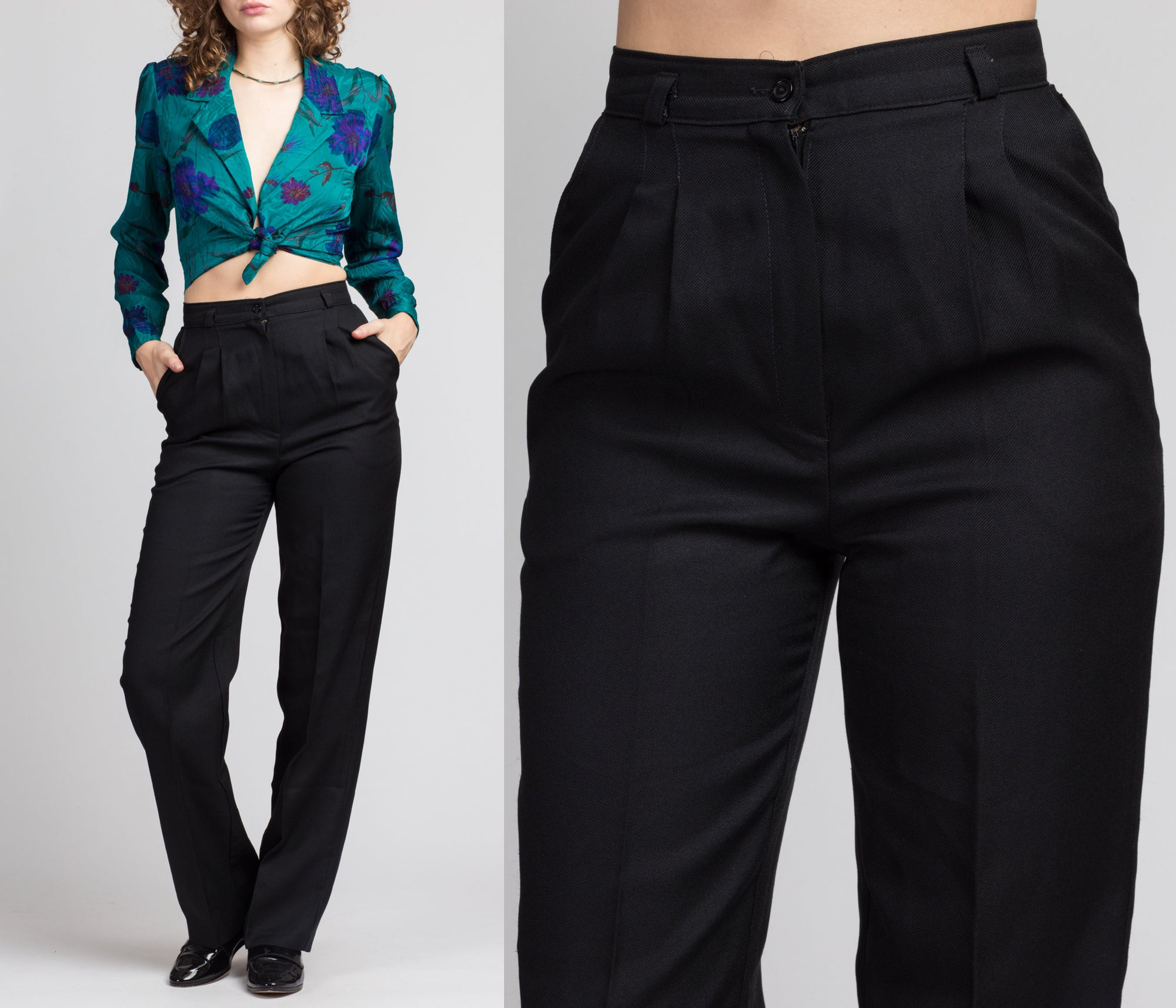 70s Black High Waist Trousers - Small, 26""