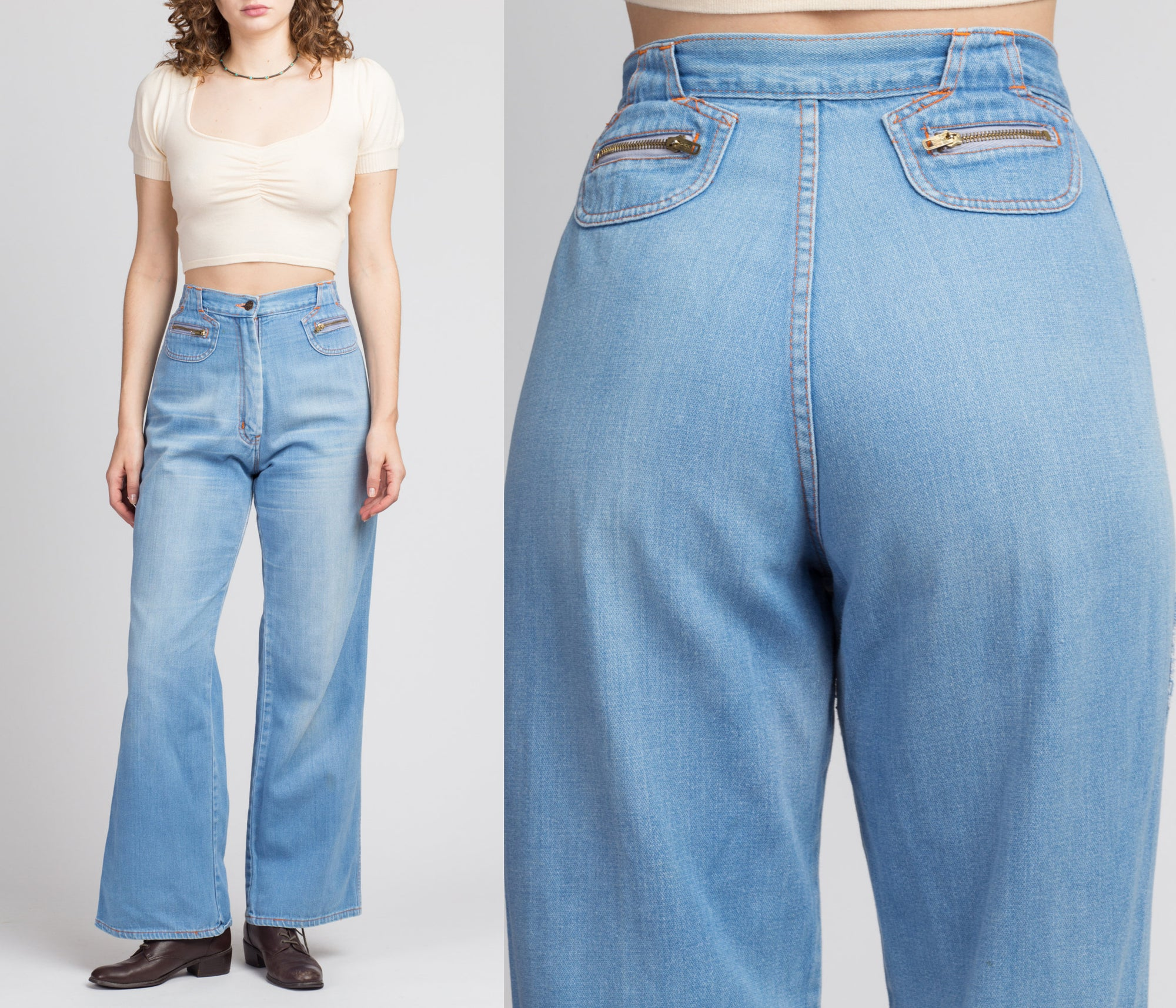 70s High Waist Flared Jeans - Medium, 29""