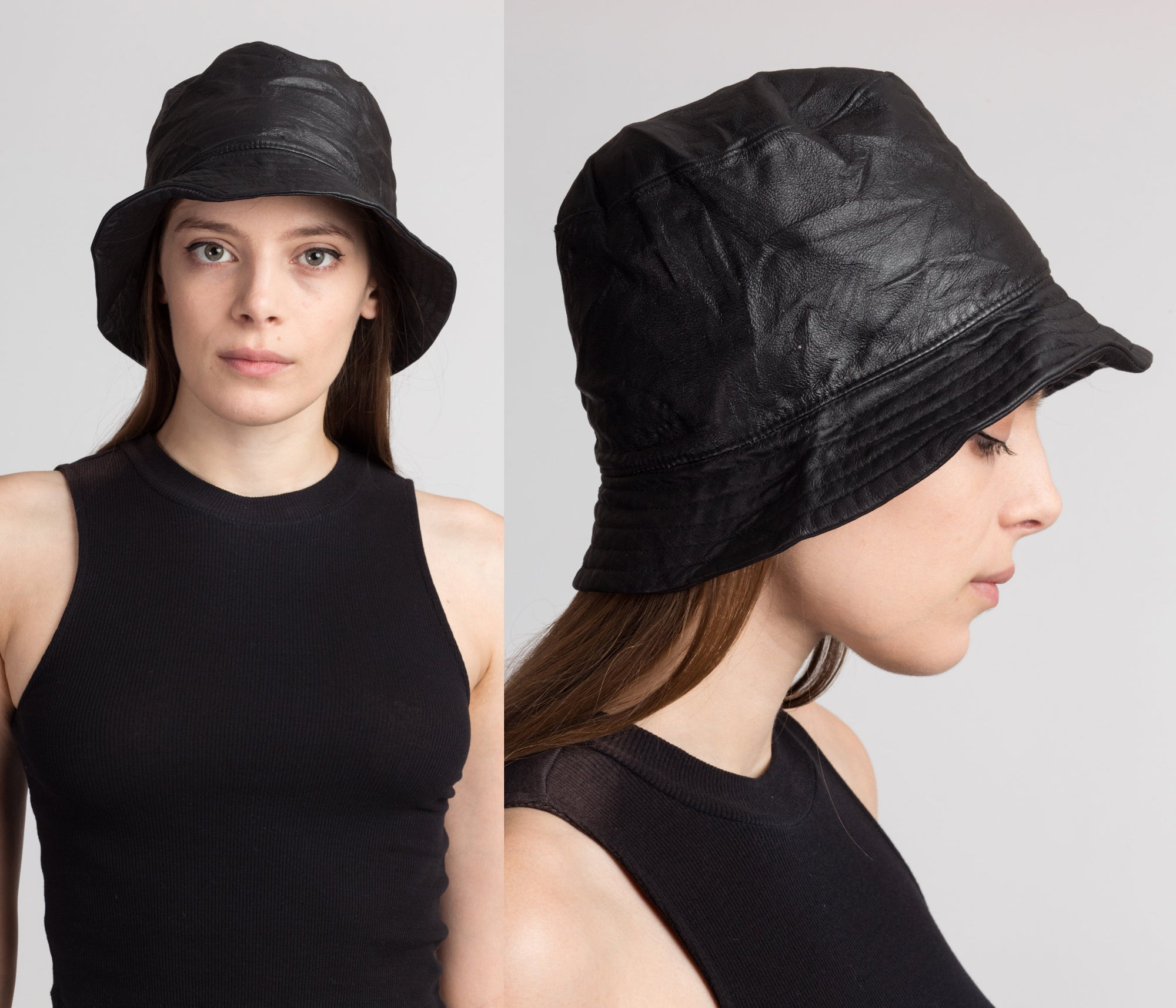 90s Black Leather Bucket Hat - Small to Medium
