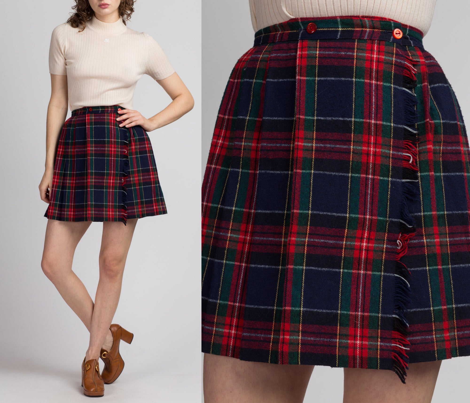 Vintage Red Plaid Schoolgirl Mini Skirt - Extra Small