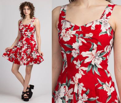 Vintage Red Floral Fit & Flare Mini Dress - Small