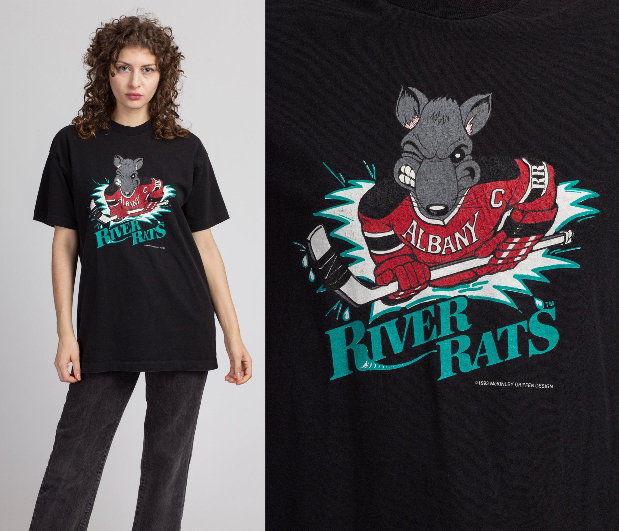 90s Albany River Rats Hockey T Shirt - Large