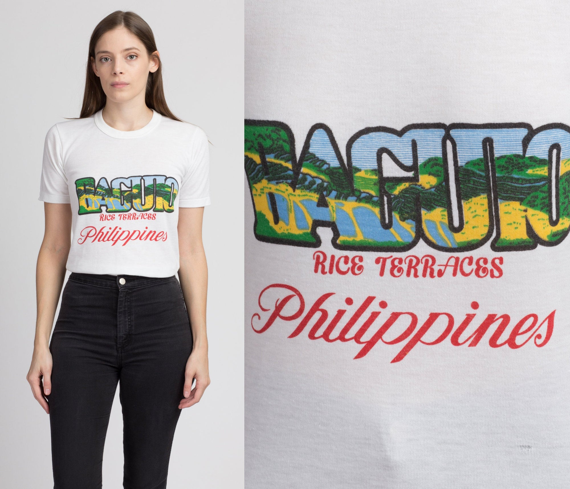 80s Baguio Rice Terraces Philippines T Shirt - Extra Small