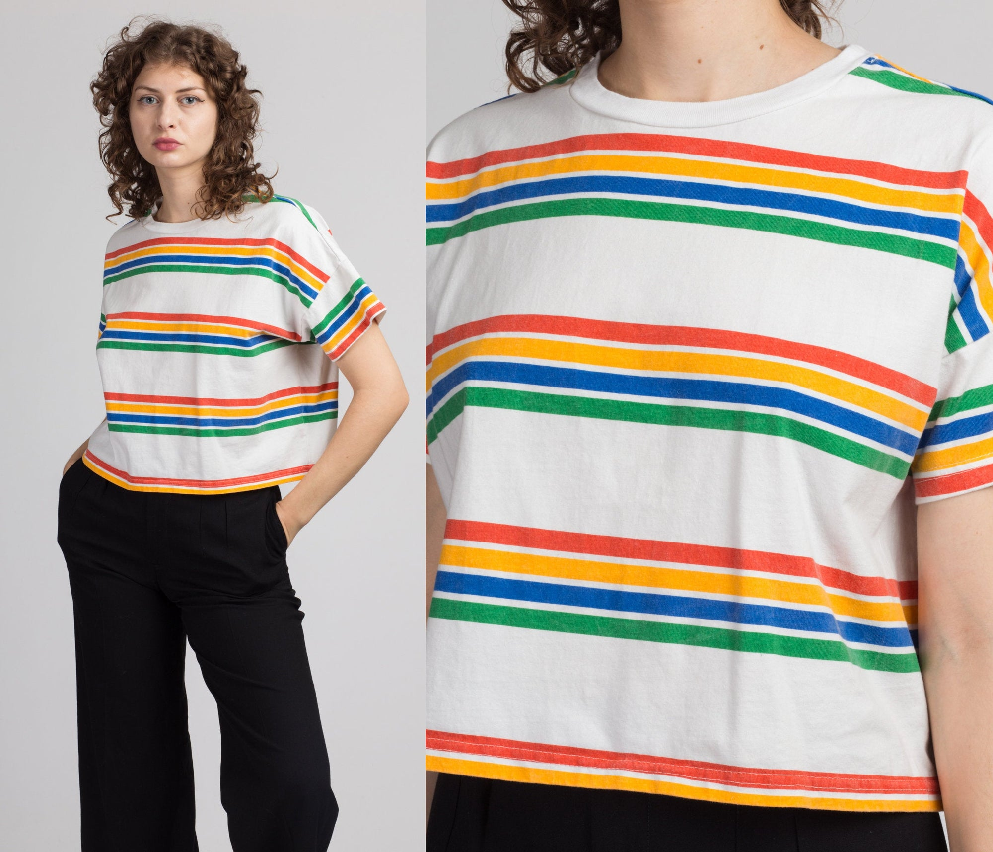 90s Rainbow Striped Cropped Tee - Extra Large