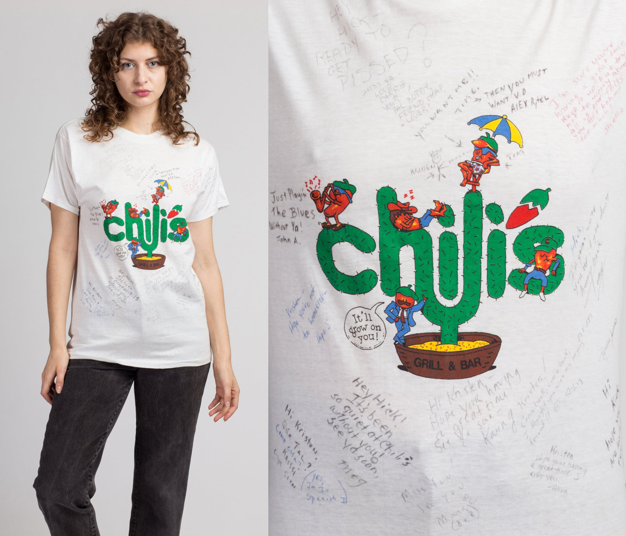 80s 90s Signed Chilis Tee - Medium