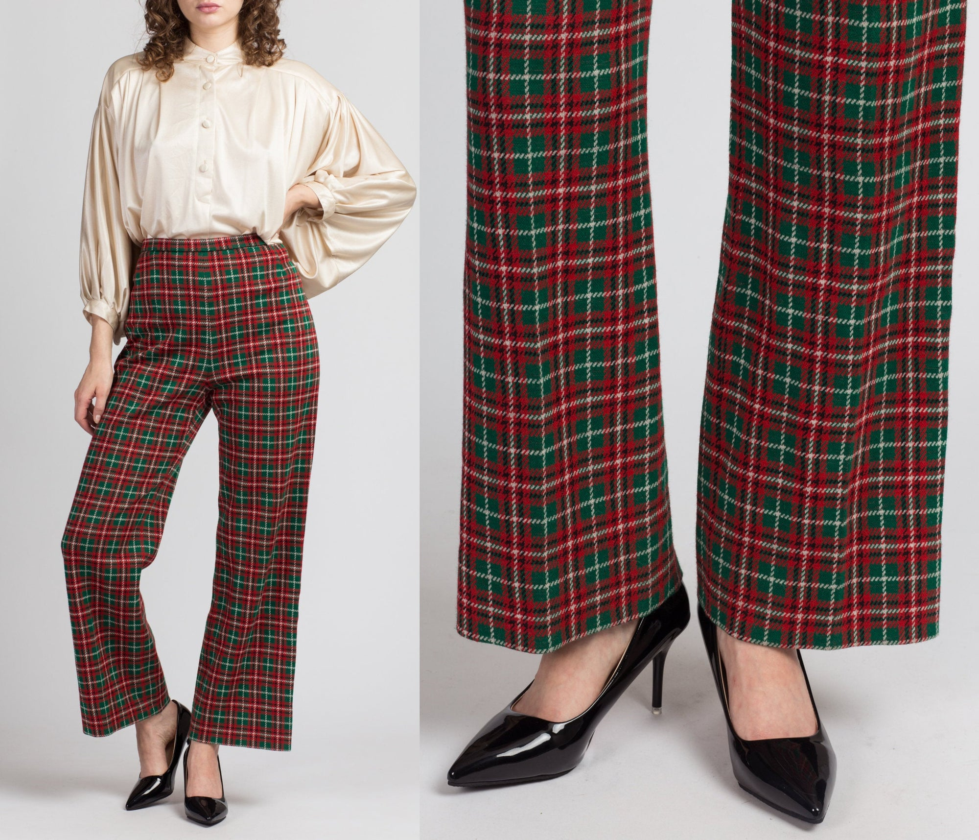 80s Red & Green Plaid Trousers - Medium to Large