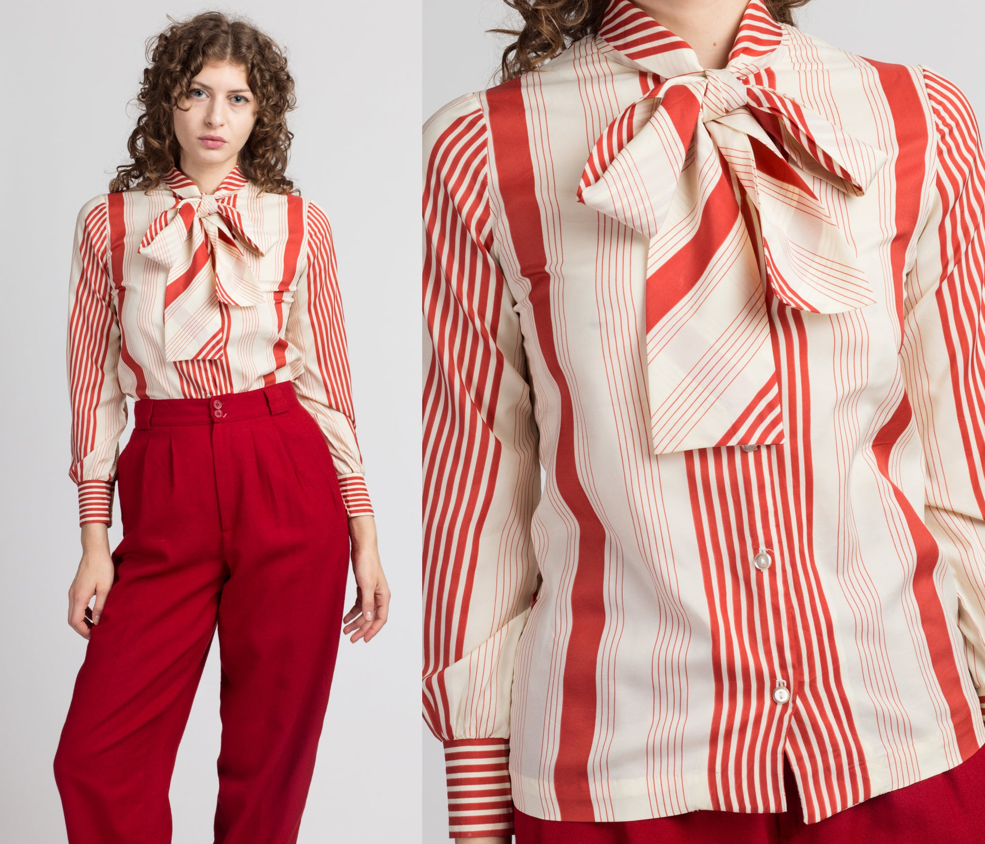 70s 80s Red & White Striped Secretary Blouse - Extra Small