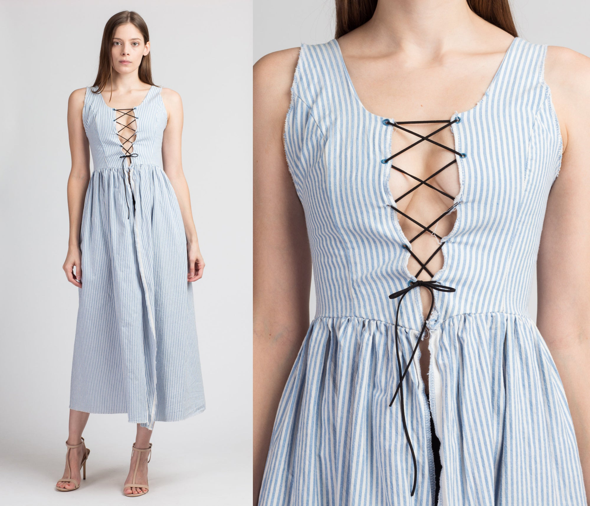 90s Blue & White Striped Lace Up Open Maxi Dress - Extra Small