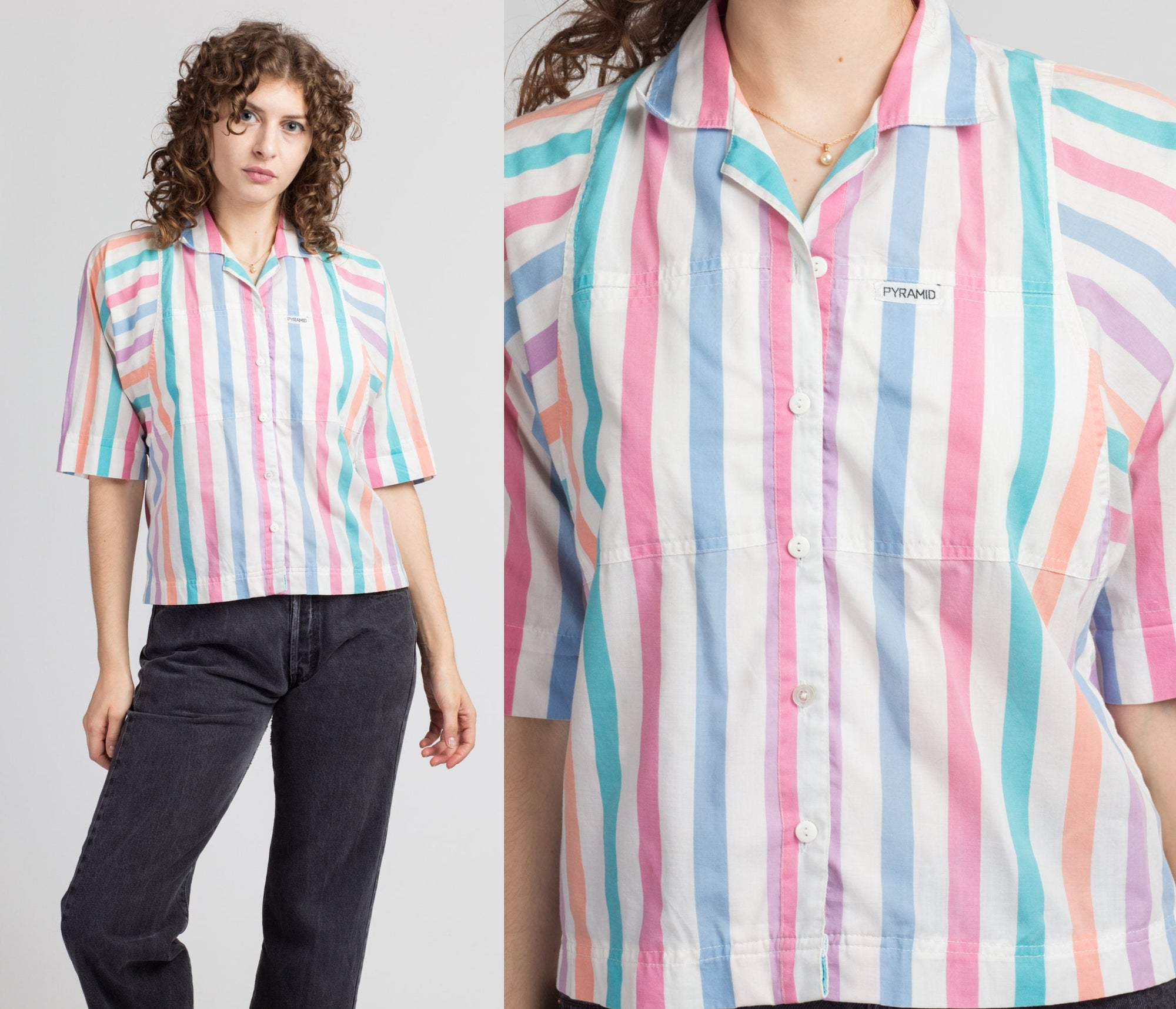 80s Pyramid Pastel Striped Button Up Top - Medium
