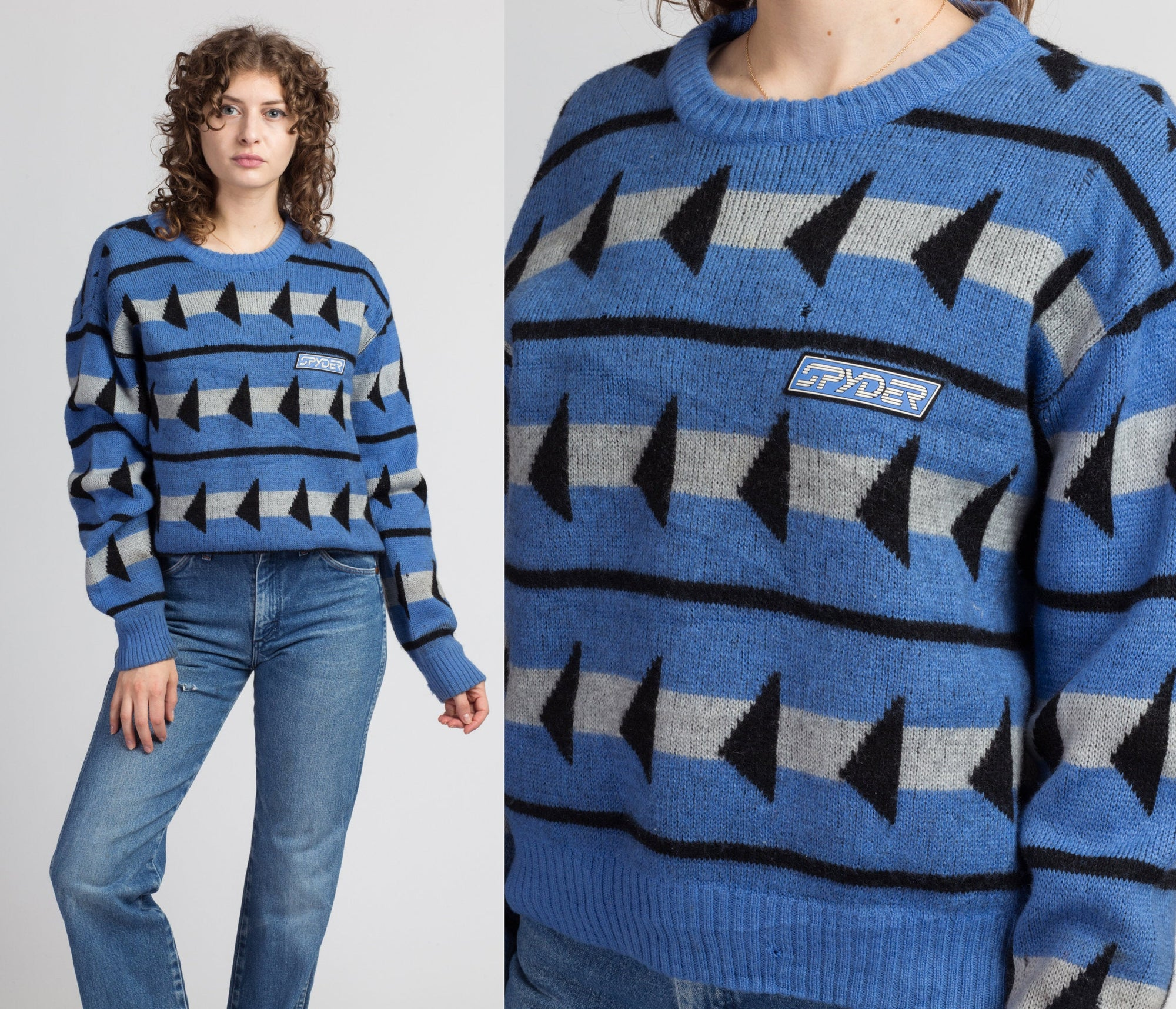 80s Spyder Geometric Knit Ski Sweater - Large