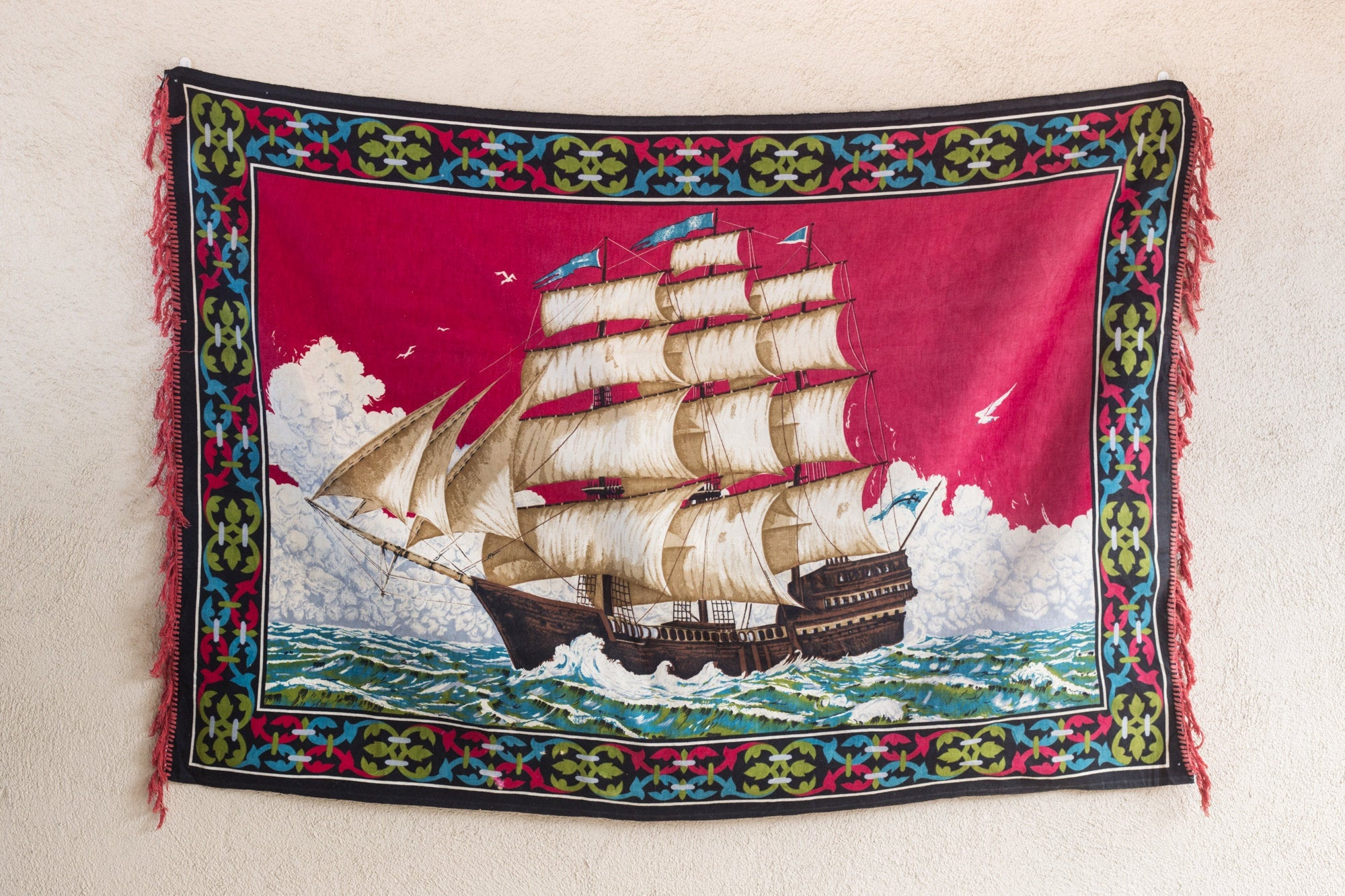 Vintage 70s Sailing Ship Tapestry - 3'x5'