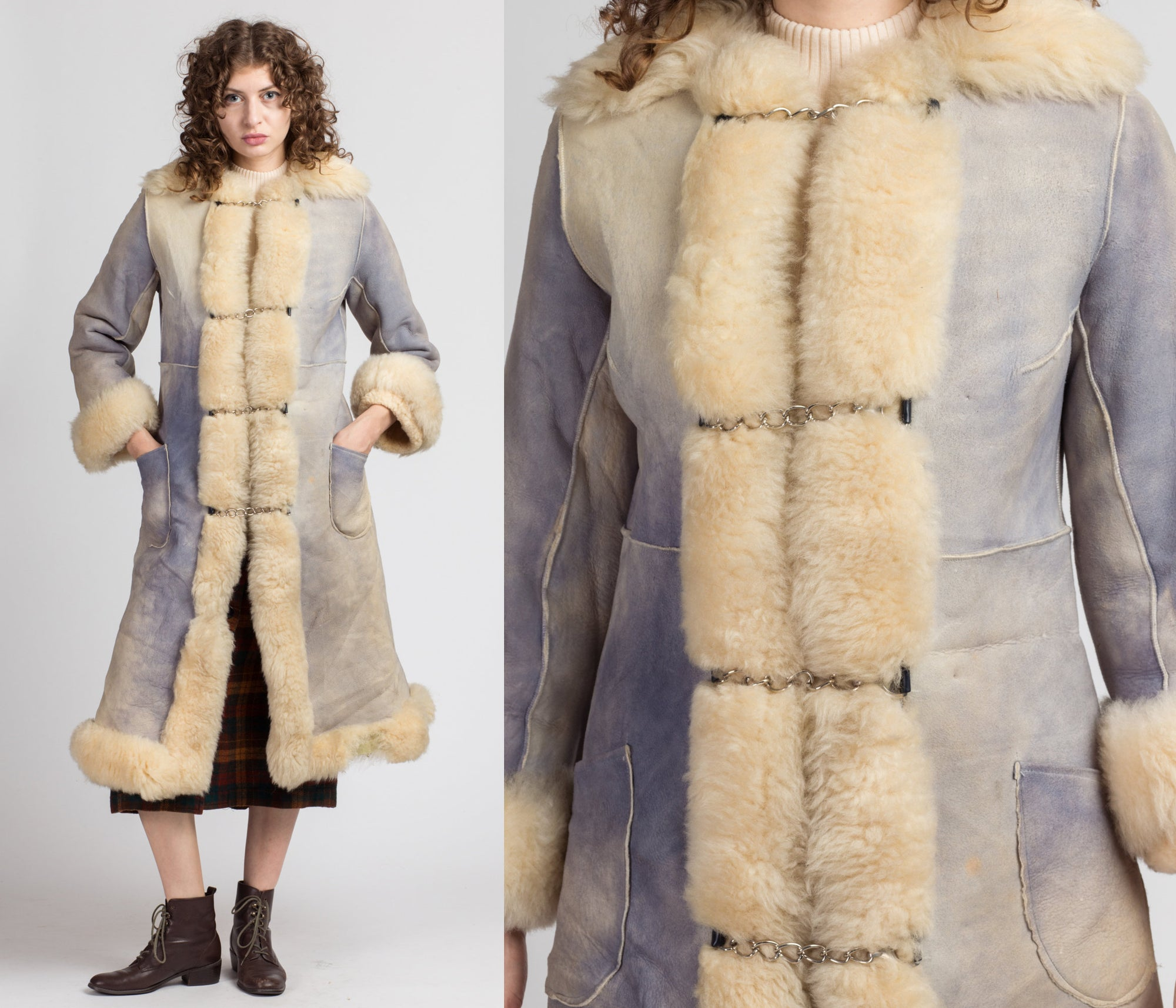 70s Blue Sheepskin Shearling Chain Coat - Small to Medium