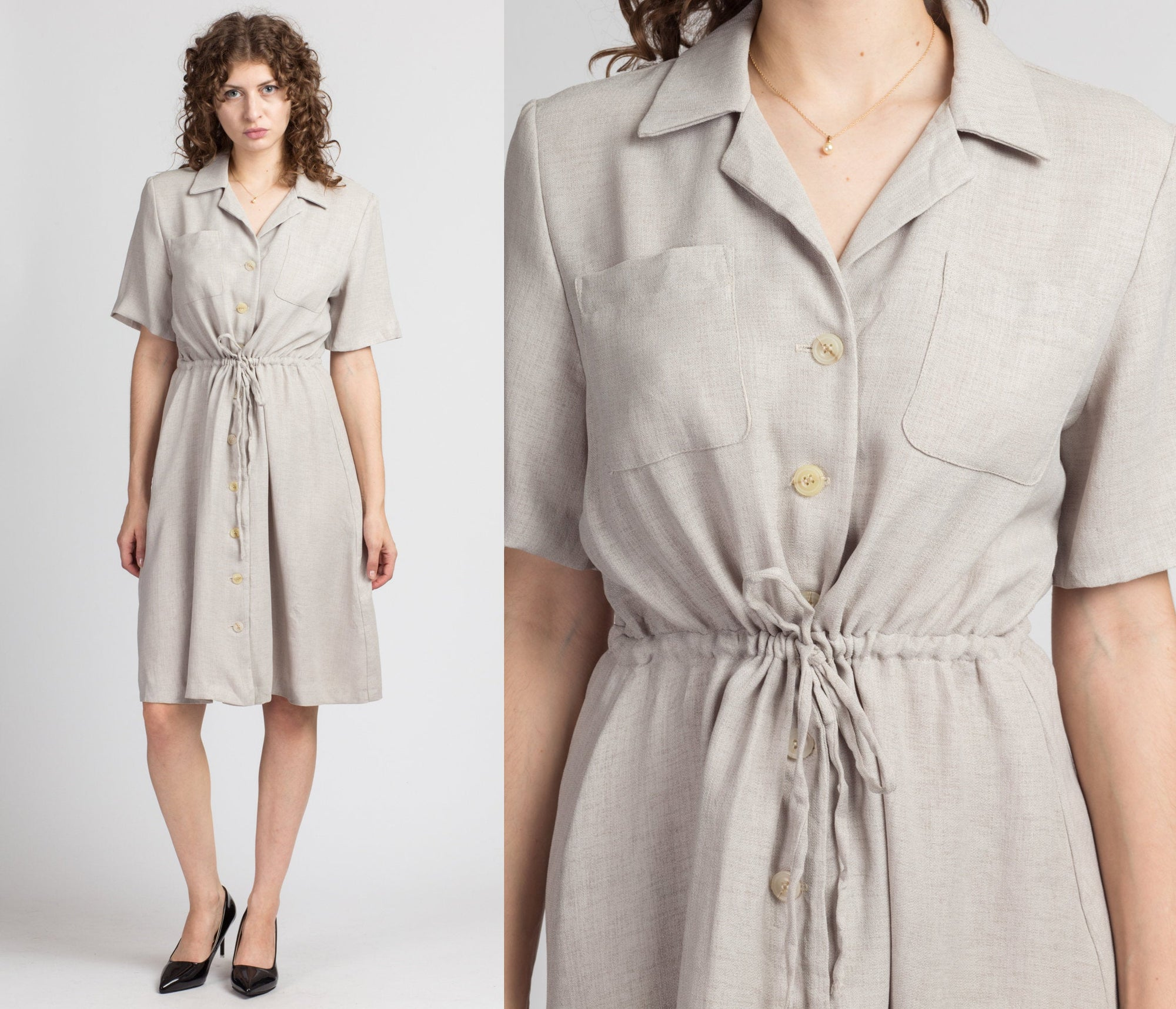 Vintage Ecru Collared Shirt Dress - Medium to Large
