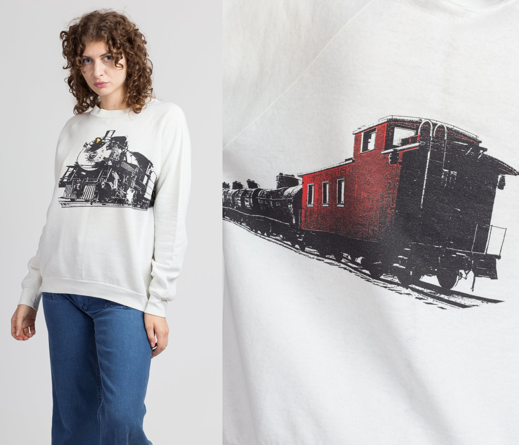 80s Train Wrap Around Graphic Sweatshirt - Men's Medium