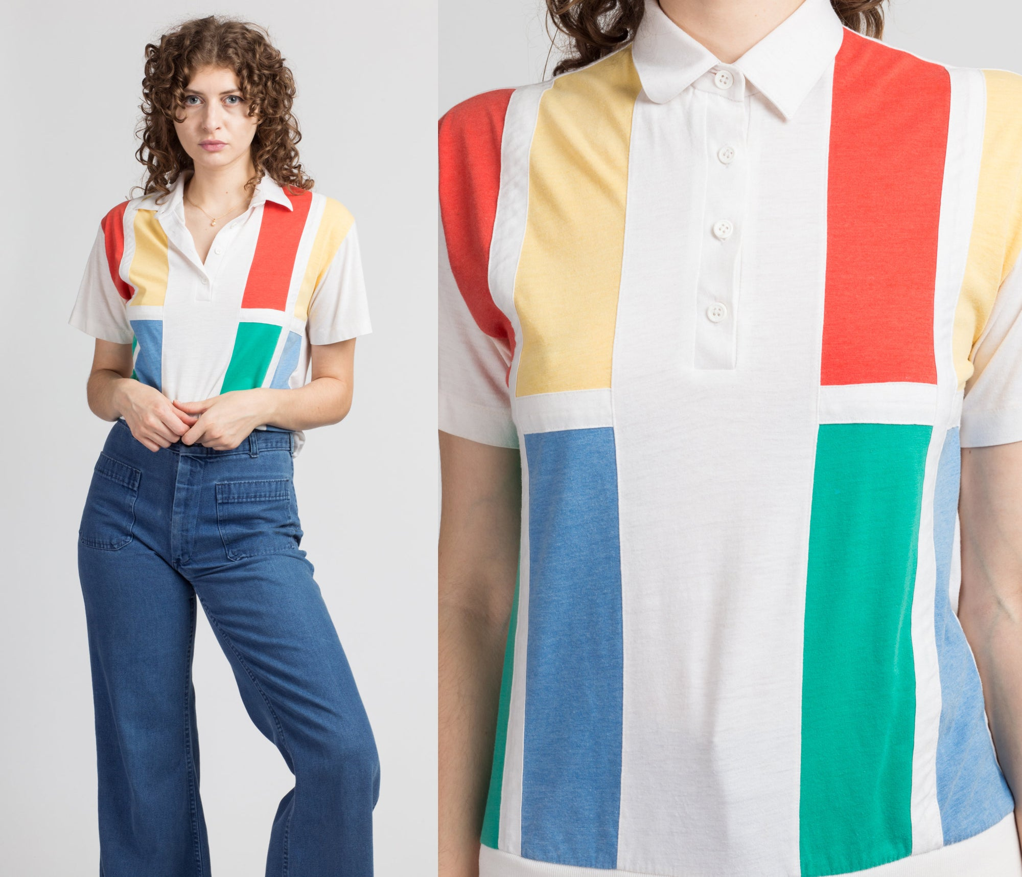 80s Primary Color Block Polo Top - Medium