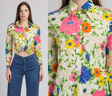 70s Floral Button Up Blouse - Small