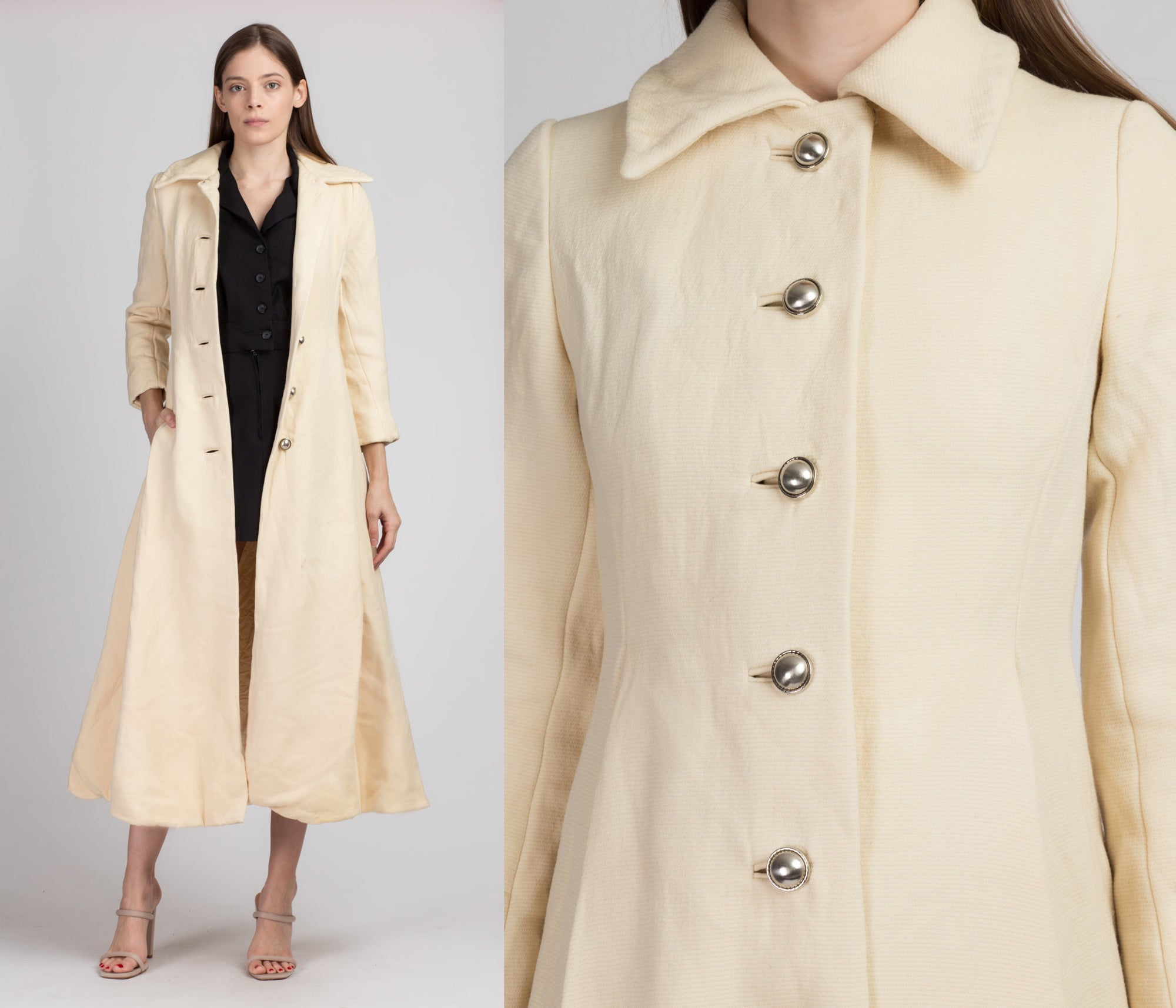 60s Long Cream Wool Coat - Petite Extra Small