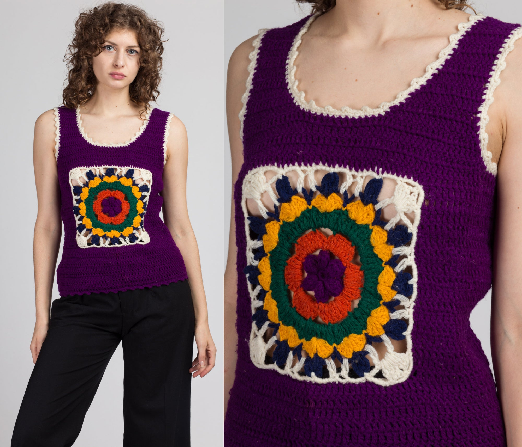 Vintage Crochet Knit Crop Top - Small