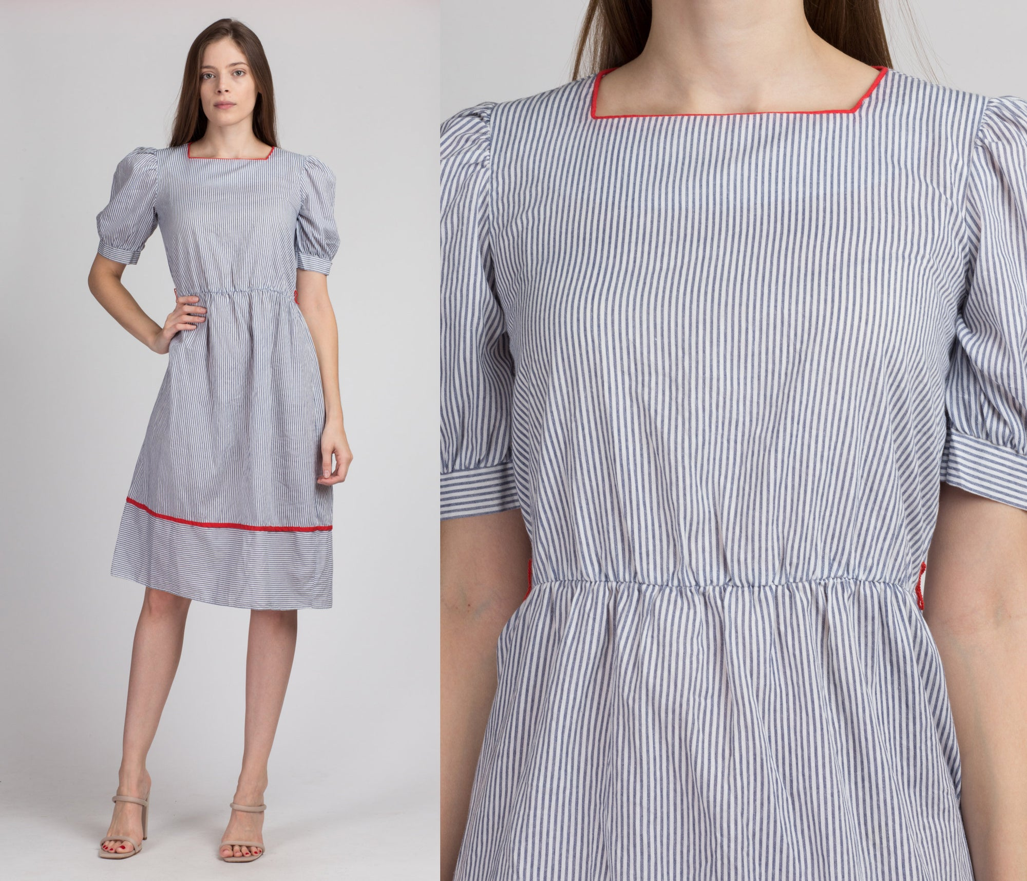 Vintage Pinstripe Puff Sleeve Mini Dress - Small