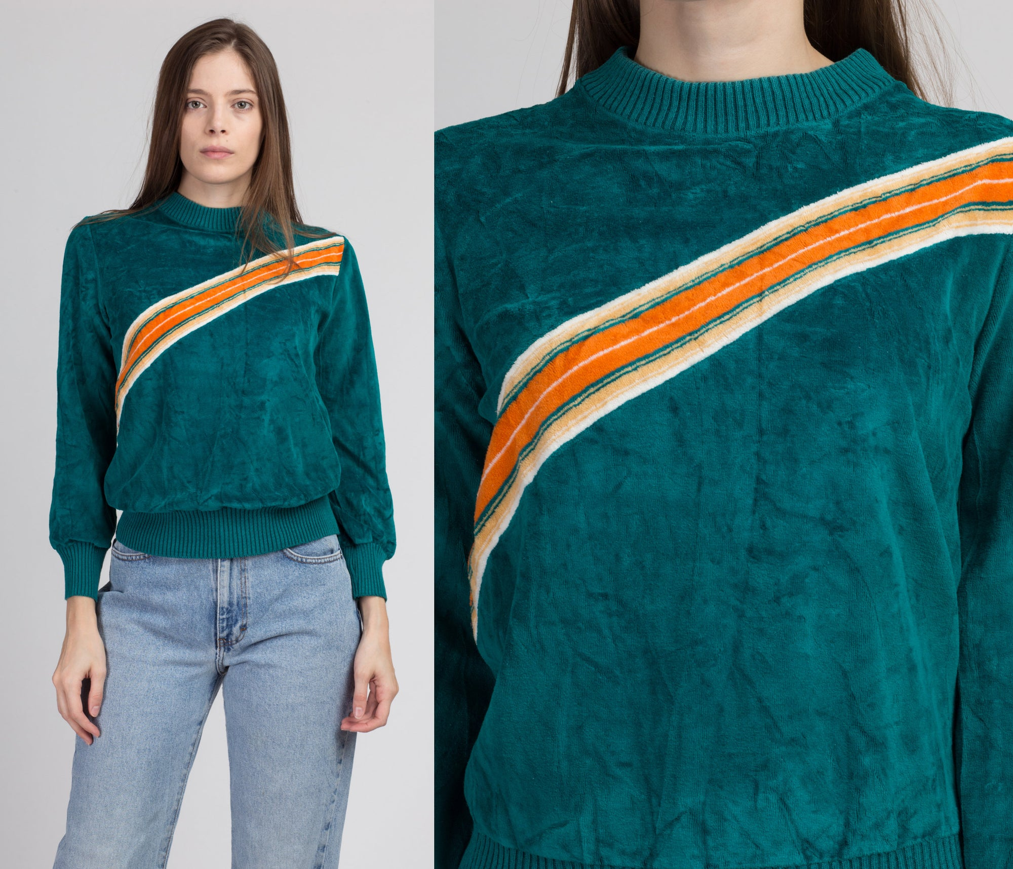 80s Velour Diagonal Striped Mockneck Sweatshirt - Medium