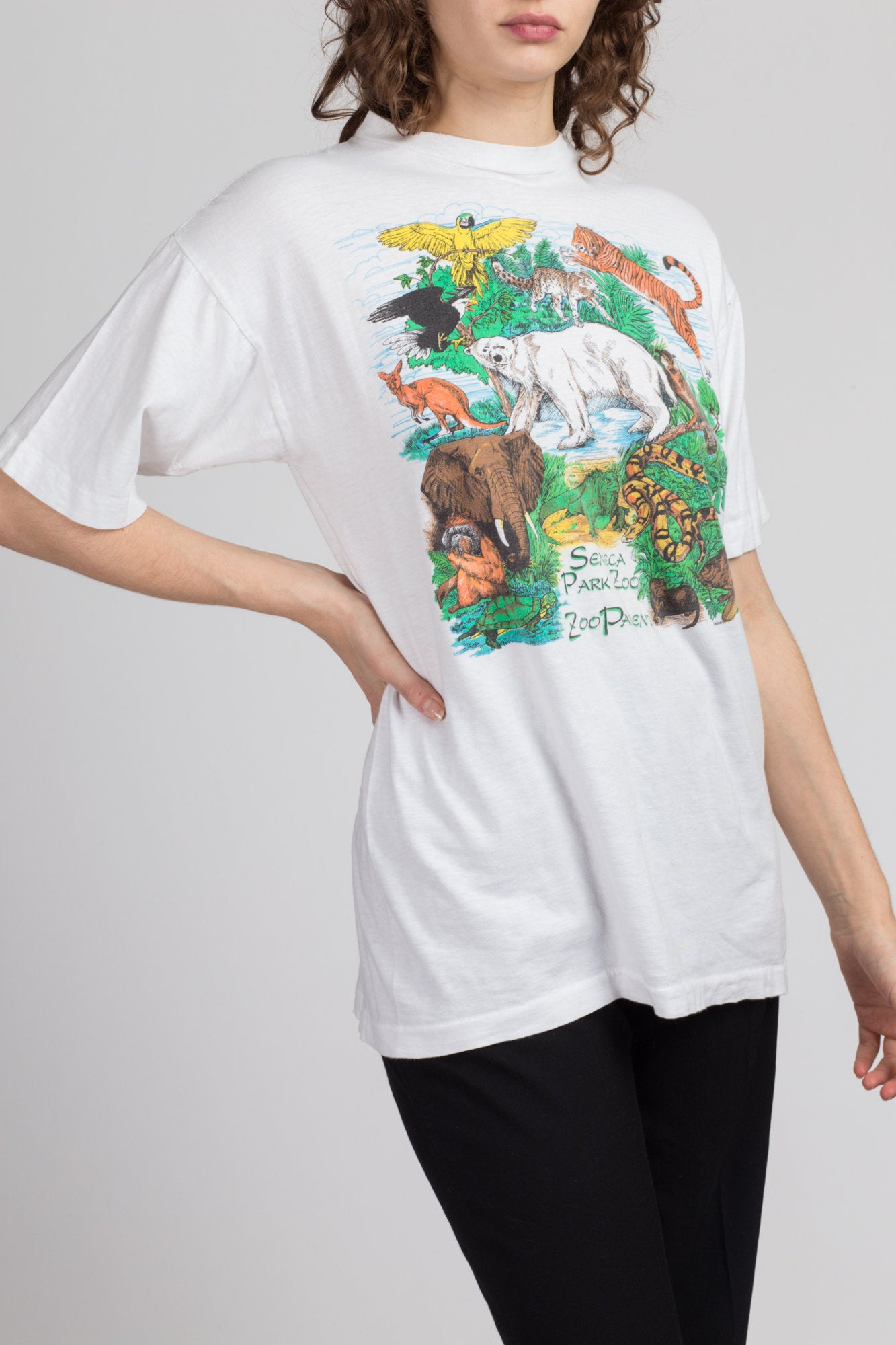90s Zoo Animal T Shirt - Large