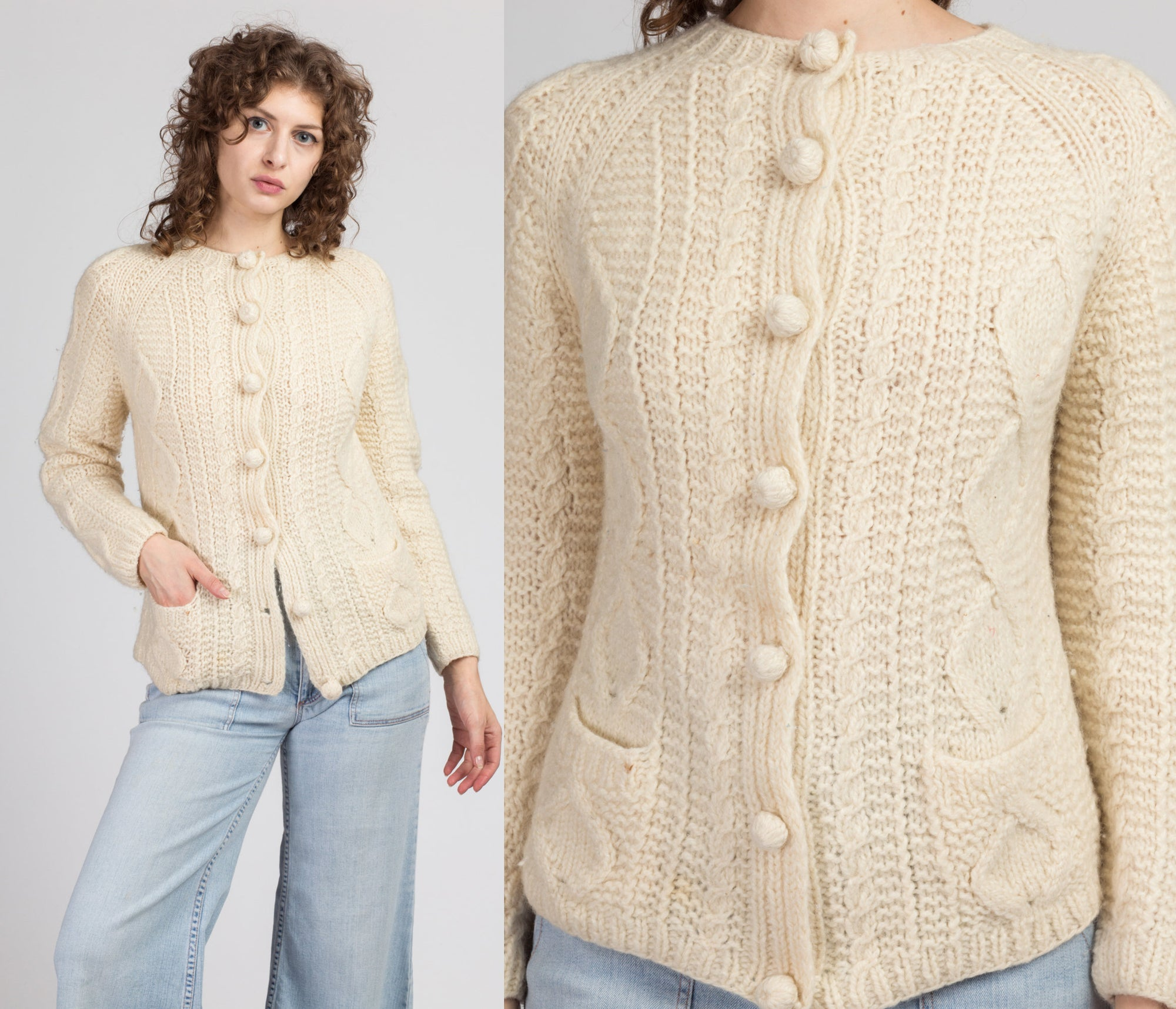 70s Cream Cable Knit Cardigan - Small to Medium