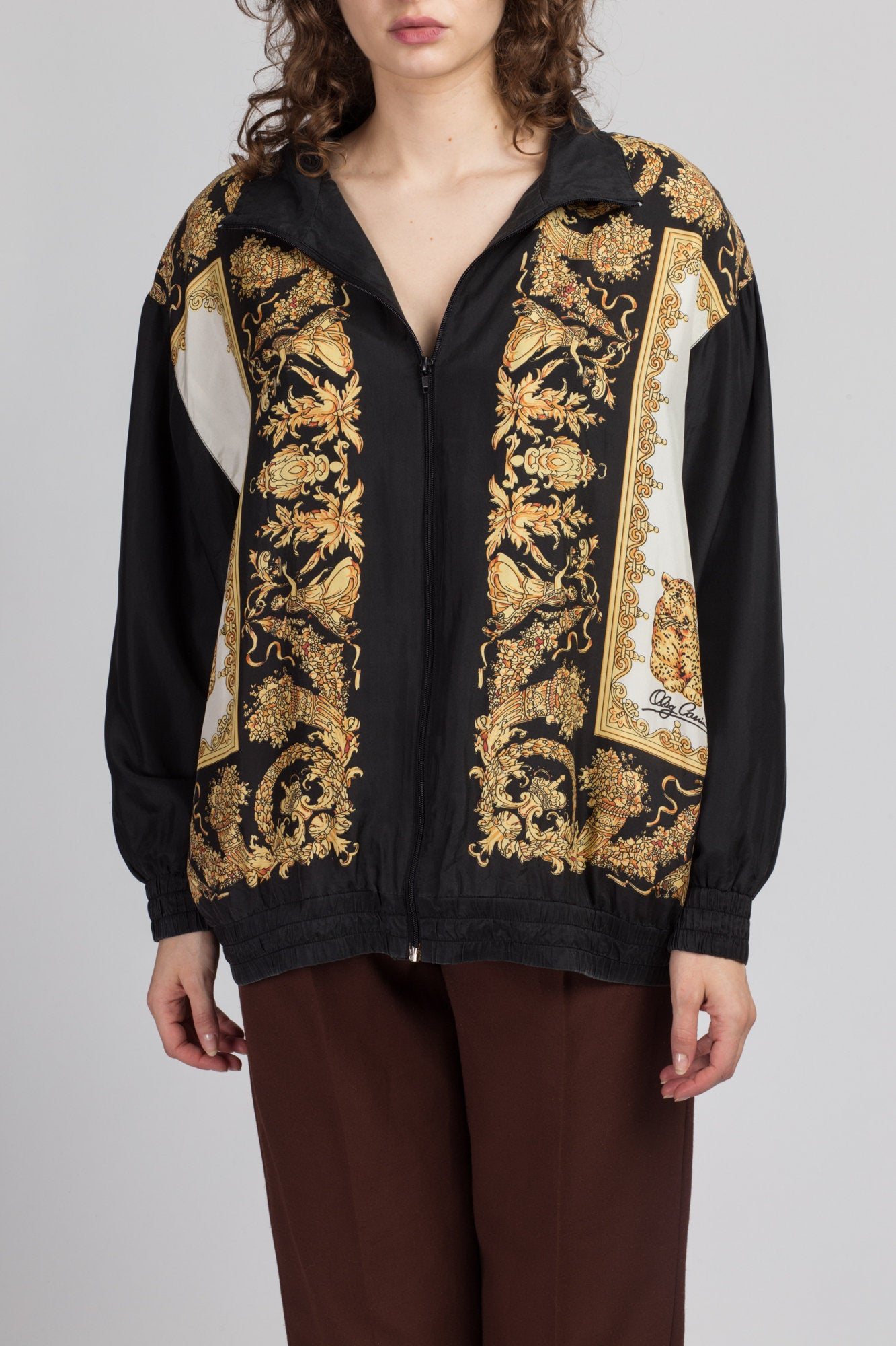 80s Baroque Silk Leopard Windbreaker - 1X