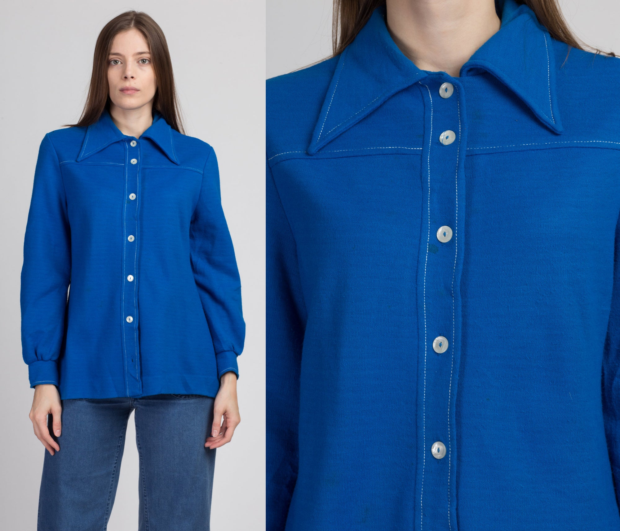 60s Catalina Sportswear Blue Button Up Top - Medium