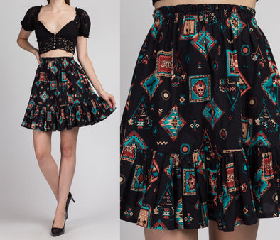 Vintage Southwestern Print Tiered Mini Skirt - XS Small Medium