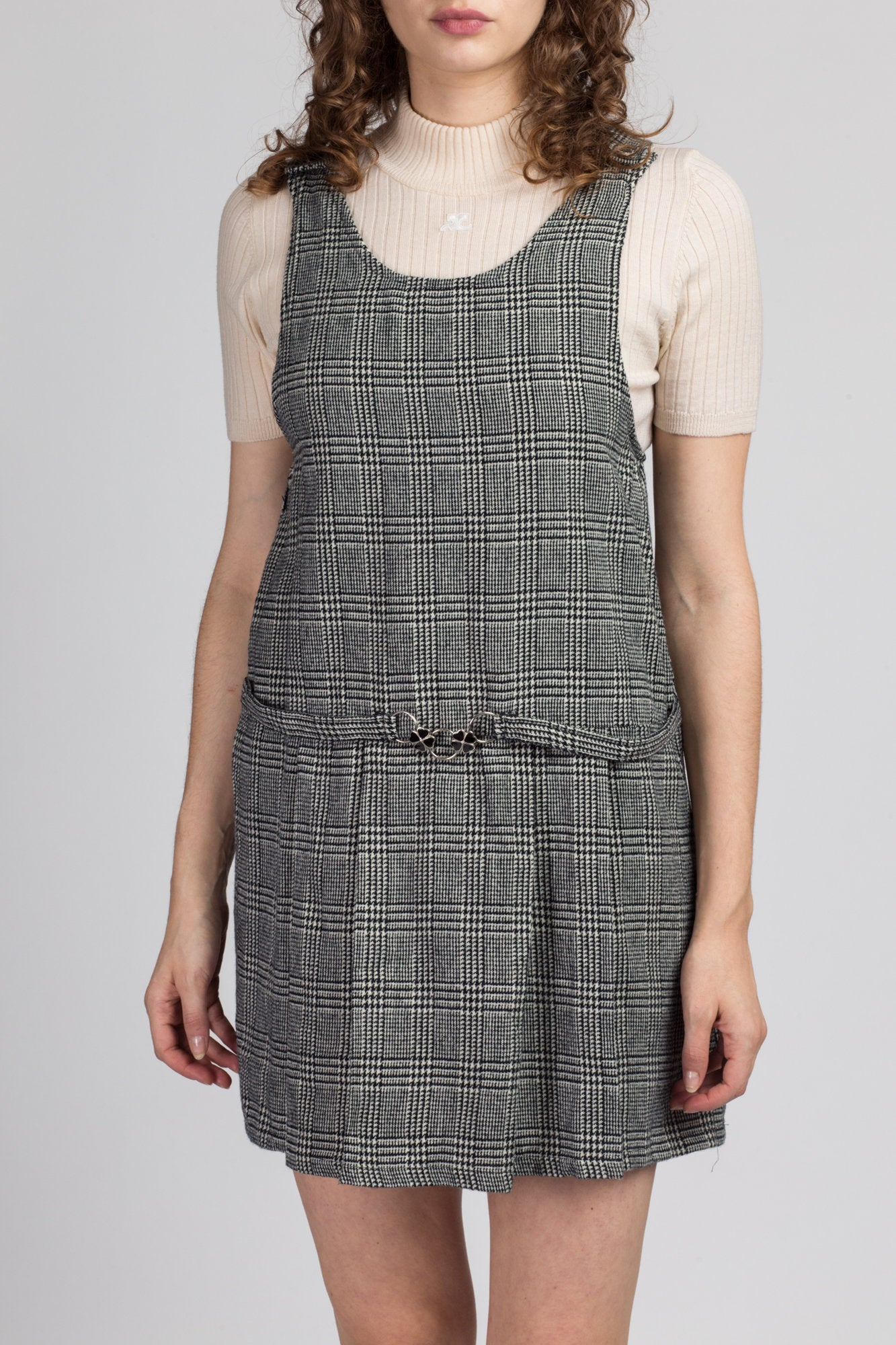 90s Four Leaf Clover Pinafore Mini Dress - Medium