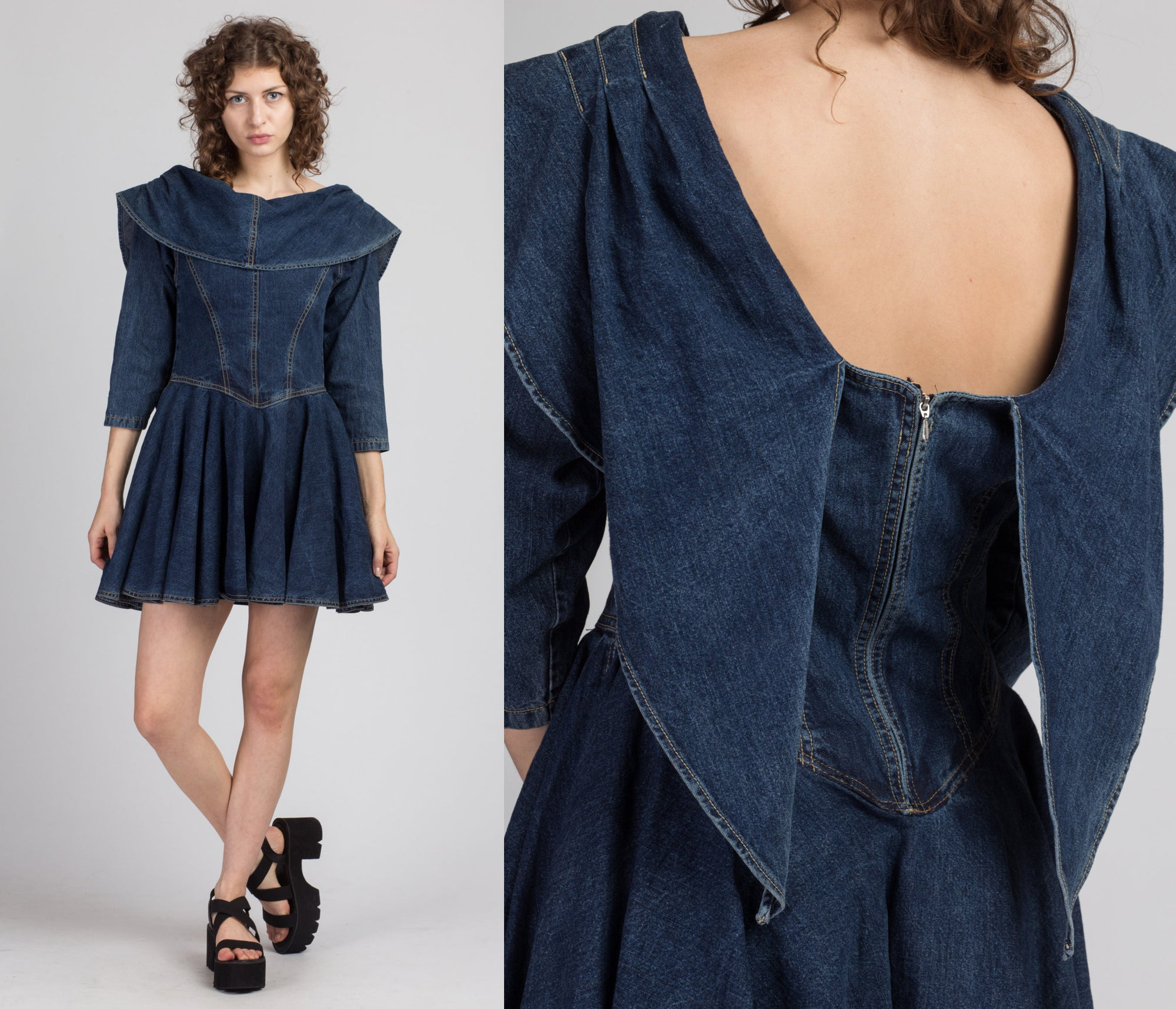 90s Denim Sailor Collar Mini Dress - Medium