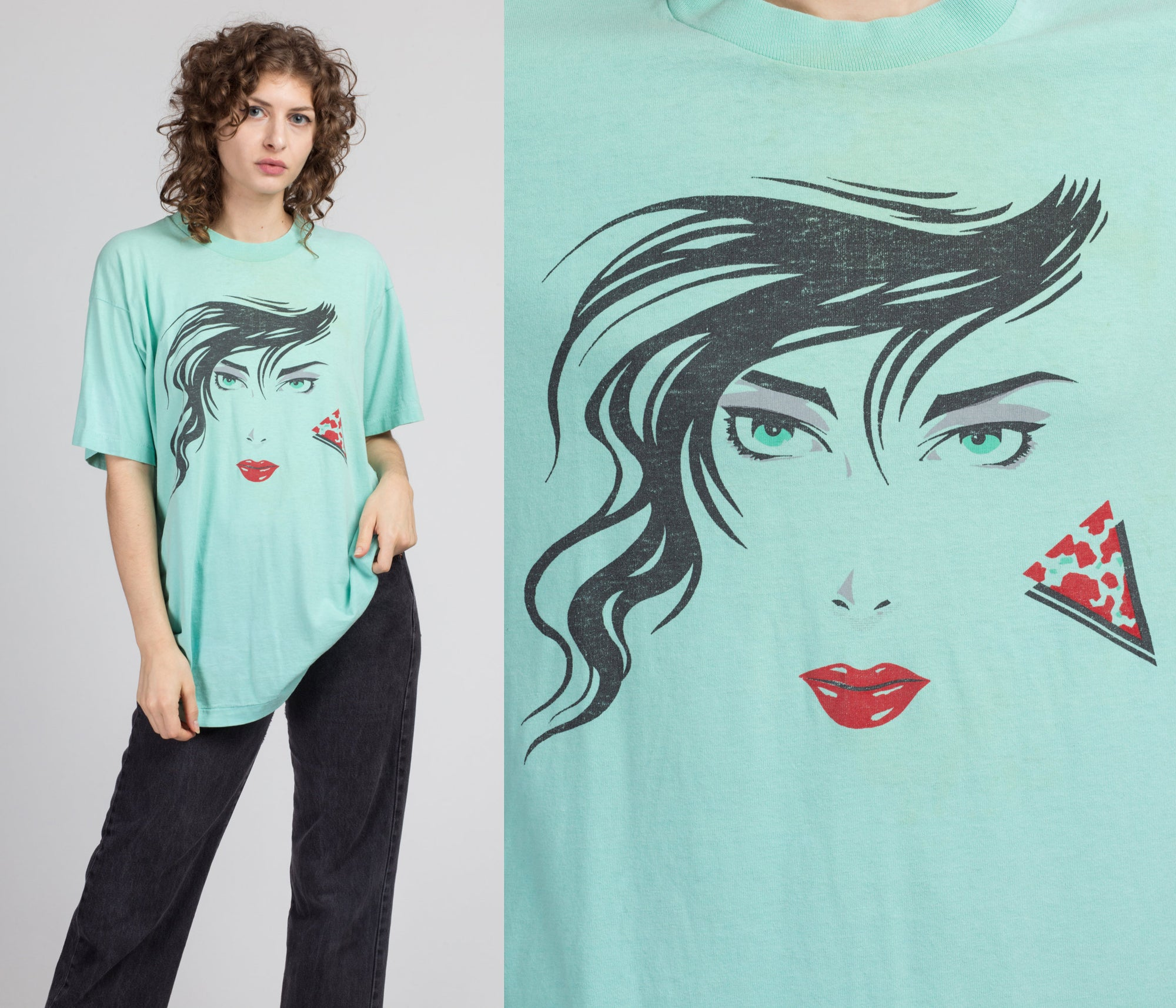 80s Glam Lady Graphic T Shirt - Extra Large