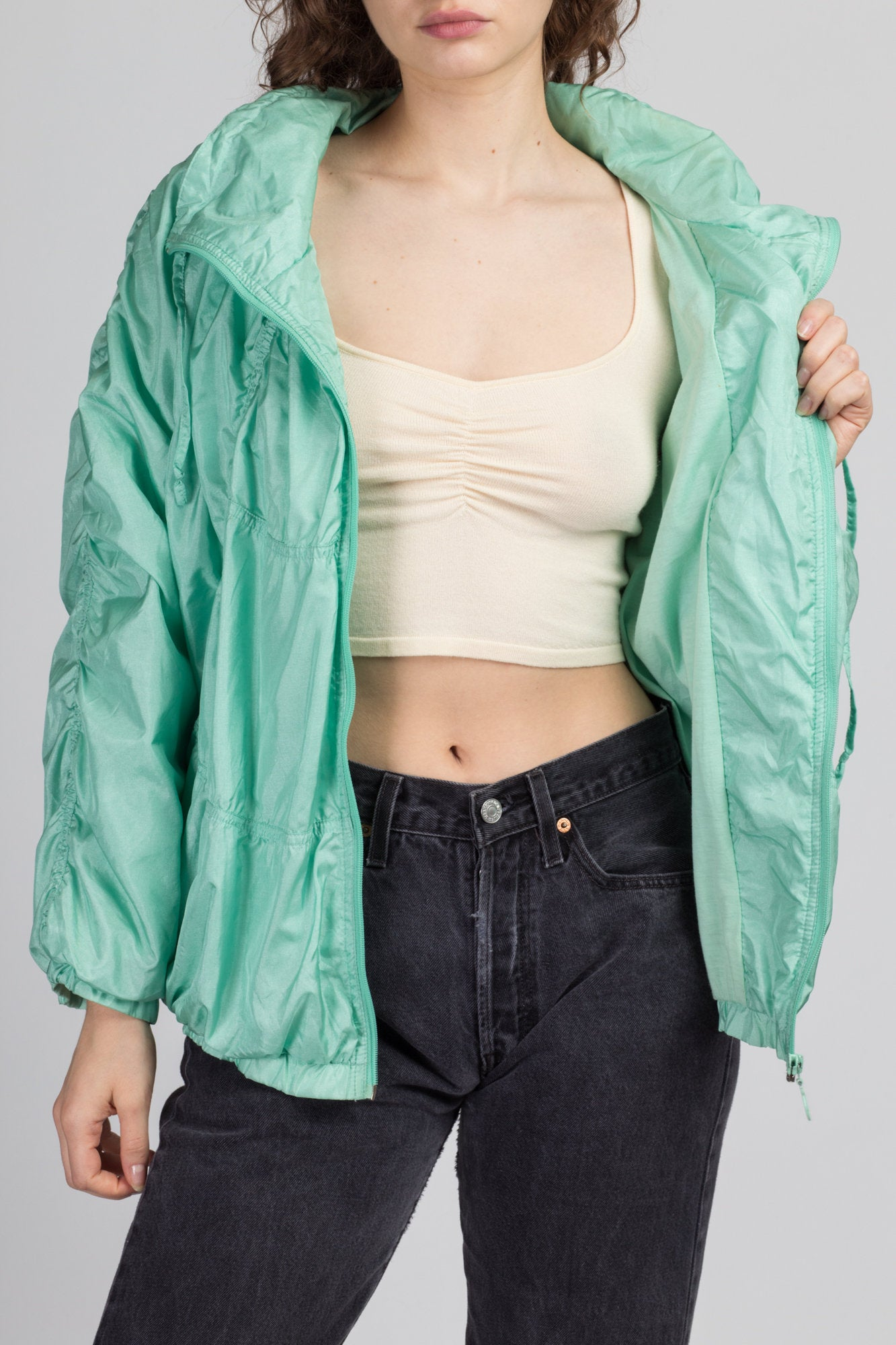 80s 90s Adidas Teal Green Ruched Windbreaker - Large