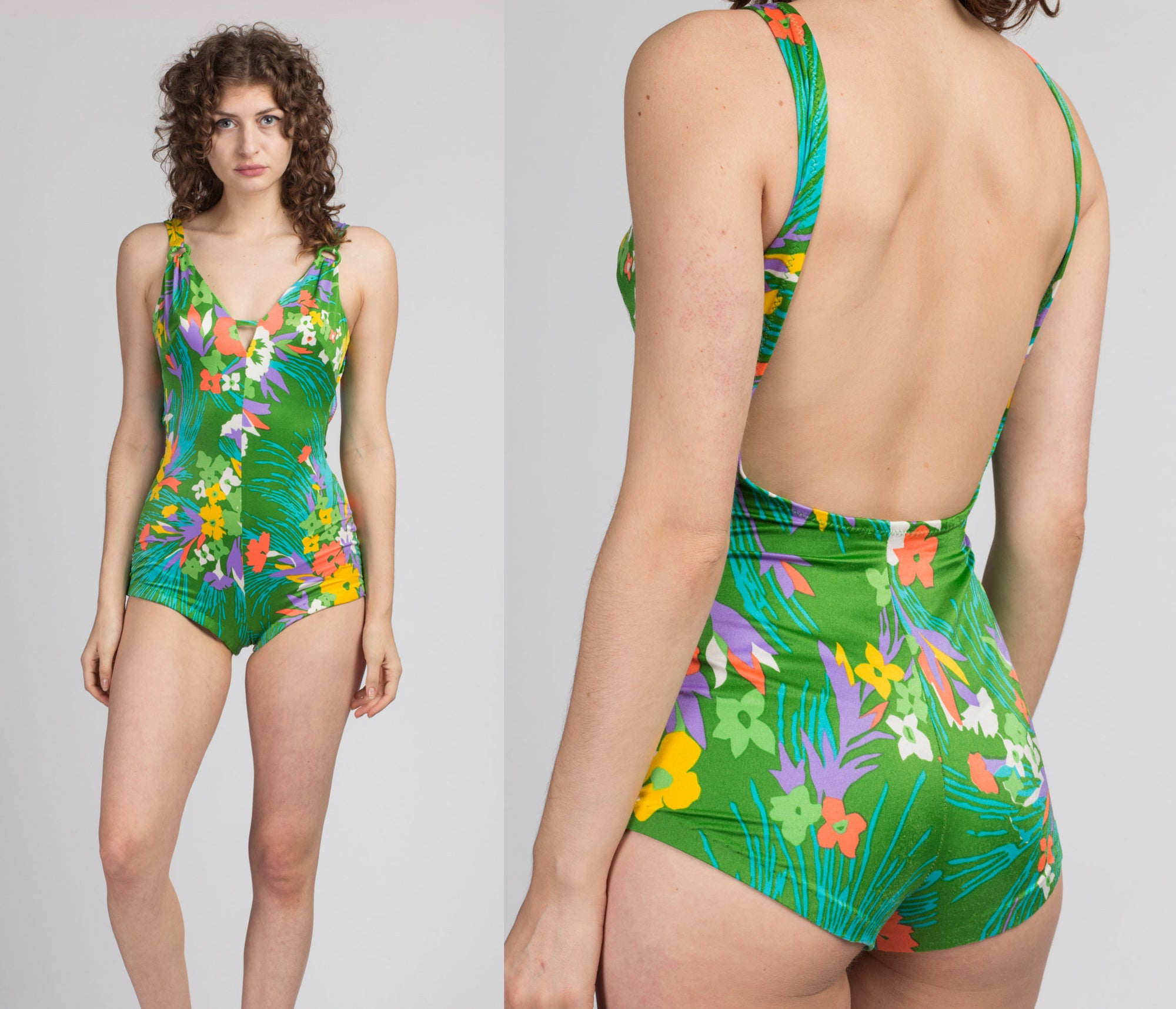 70s 80s Green Floral Low Back Swimsuit - Medium