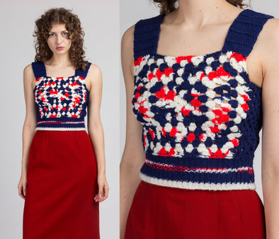 70s Crochet Knit Crop Top - XS to Small