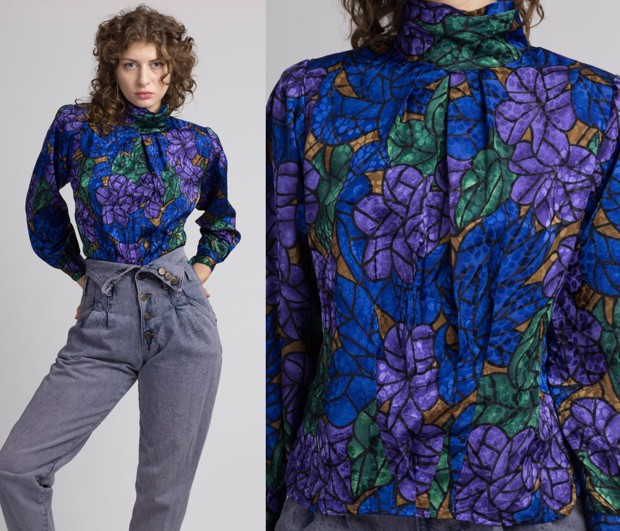 80s Floral Stained Glass High Collar Blouse - Small